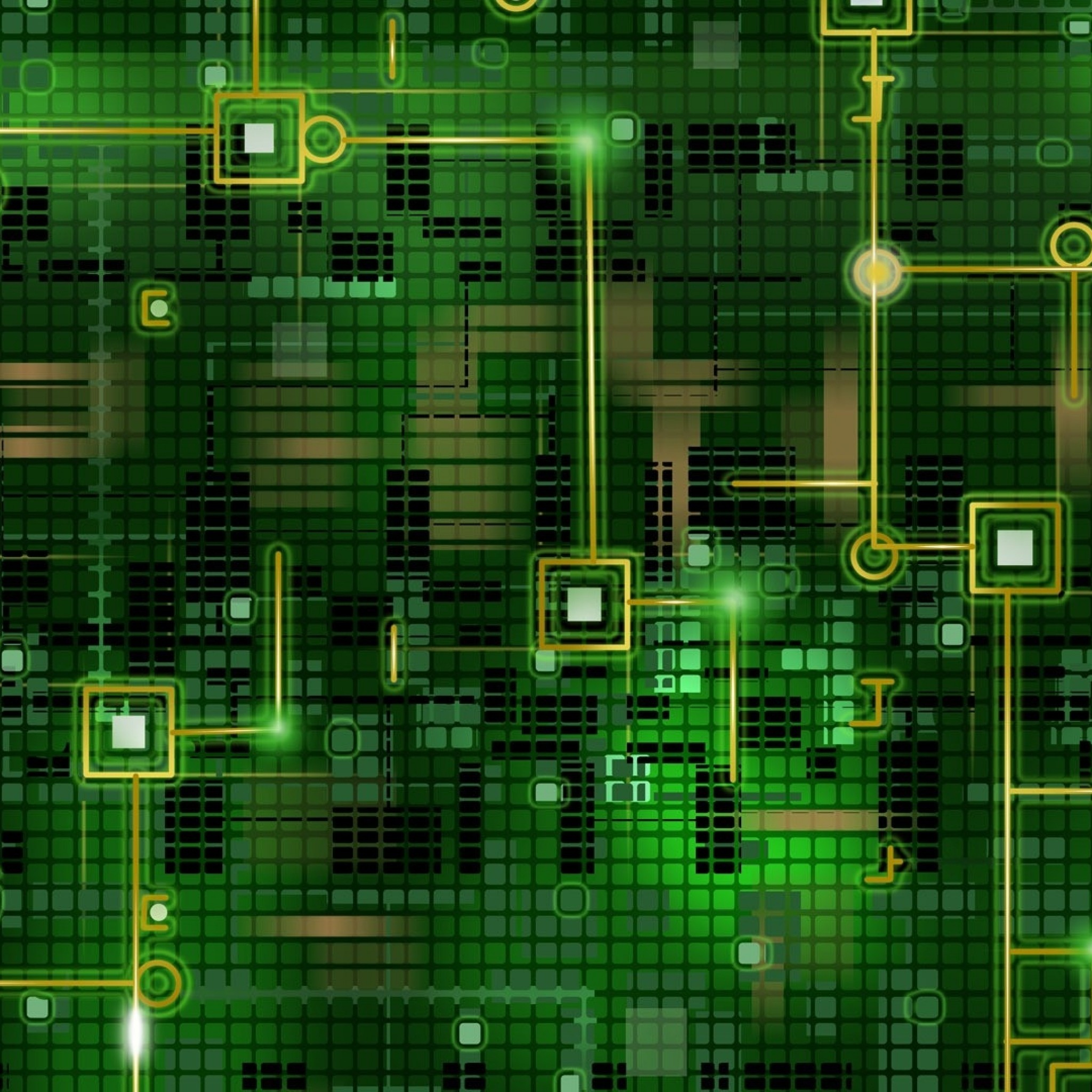 Wallpaper chip, grid, background, black, green, line, circuit
