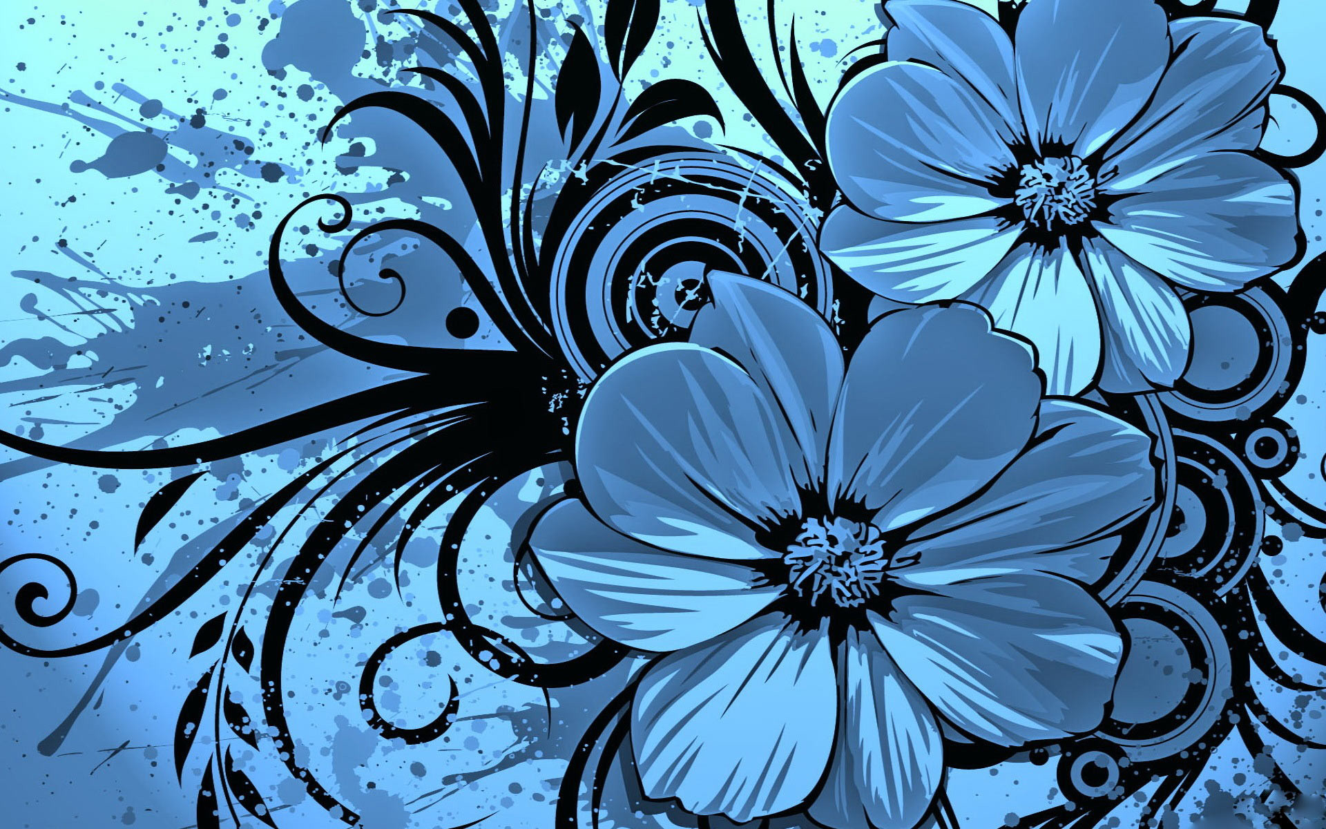Blue Flowers Background 13 Desktop Wallpaper