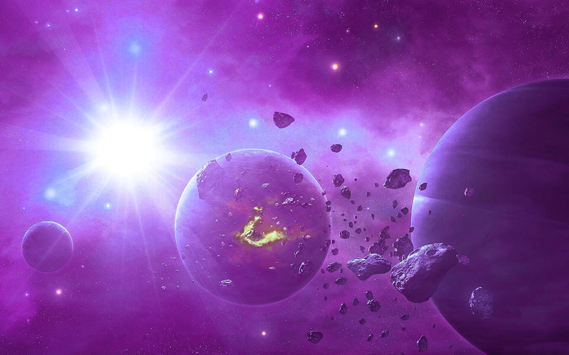 Purple Sun Space Wallpaper