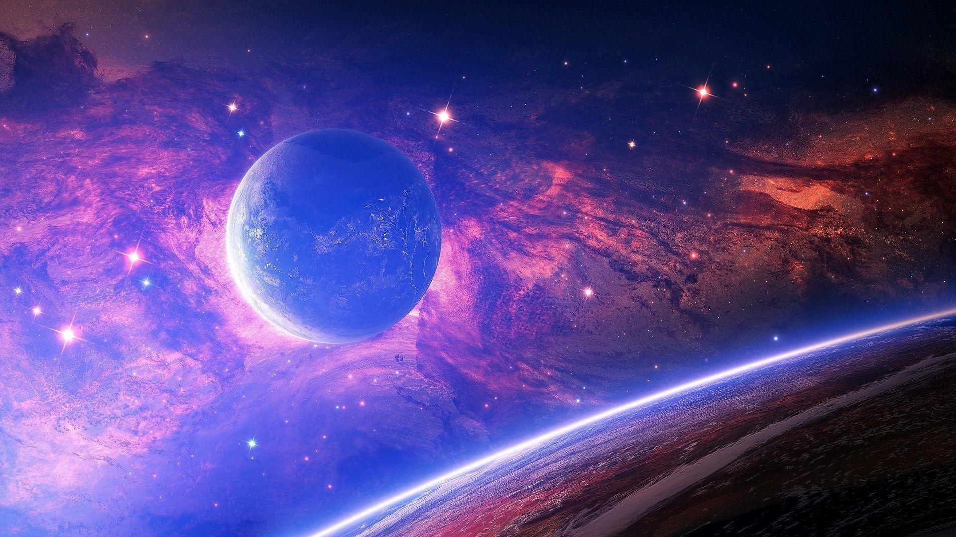 1280×720 Space purple nebula 1 Wallpaper