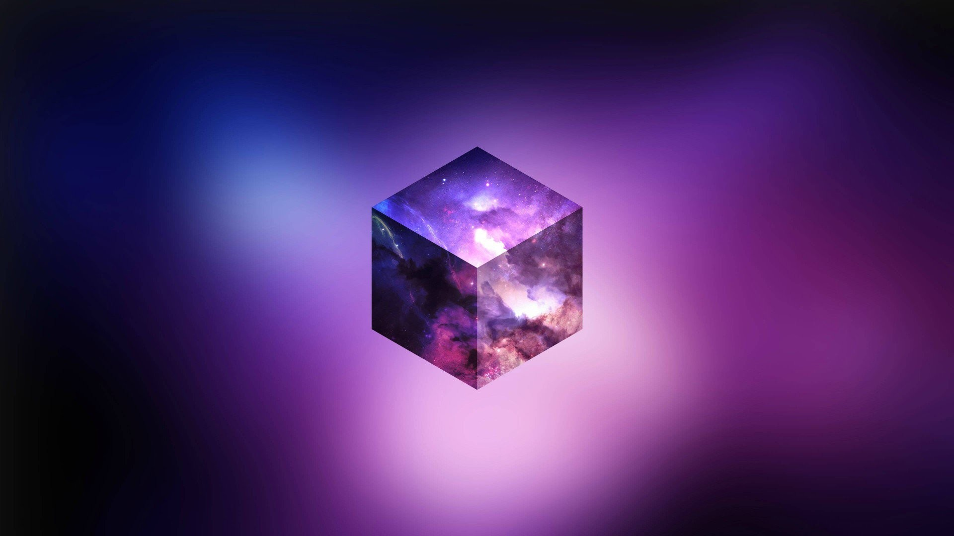 Abstract – Cube Abstract Purple Space Sky Stars Wallpaper
