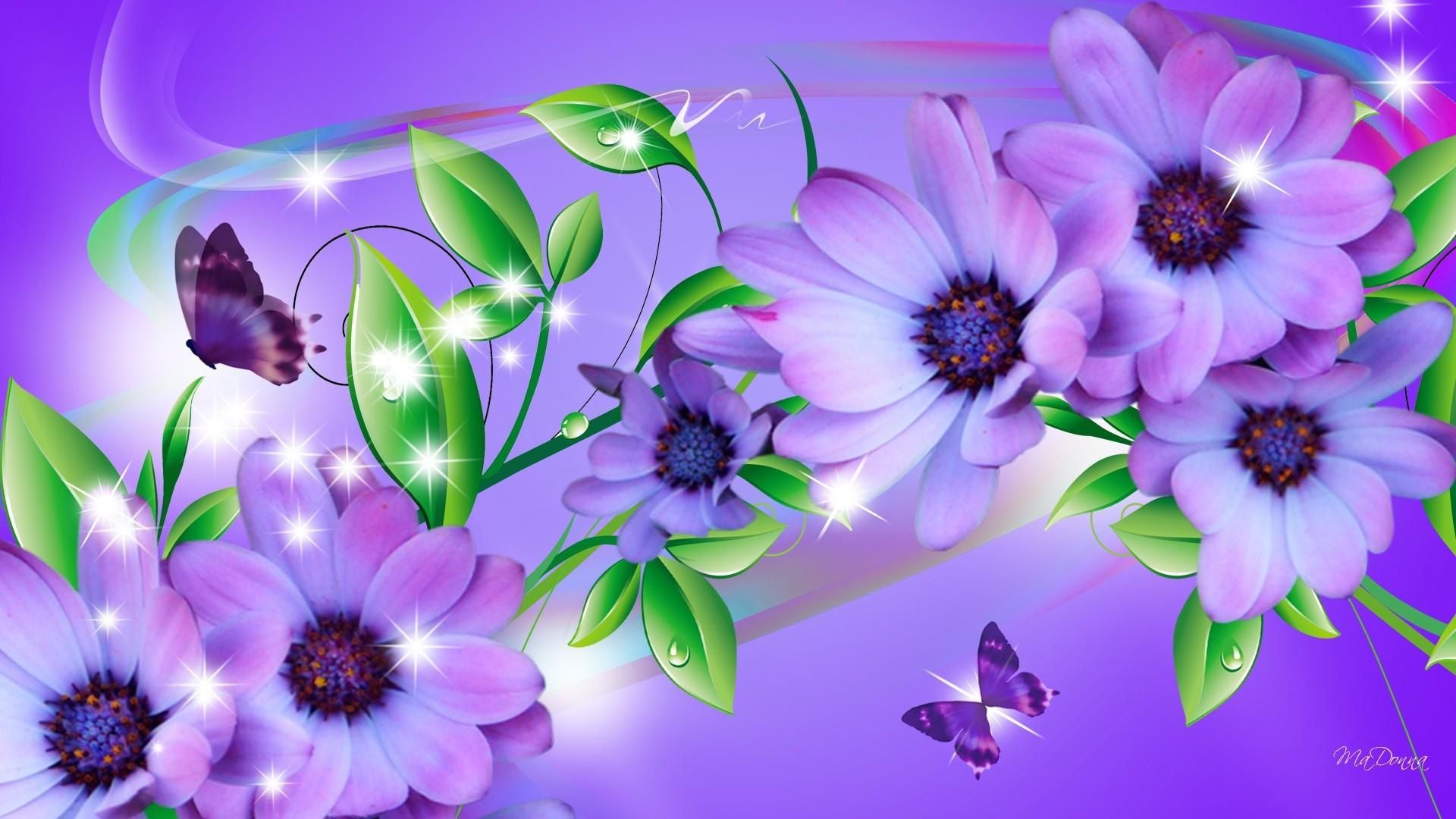 Butterfly on purple flower wallpaper
