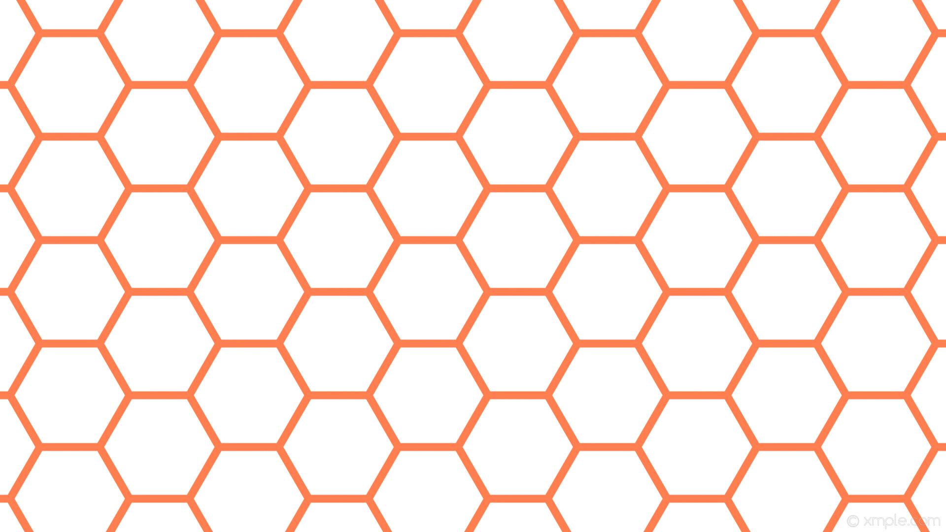 wallpaper beehive white orange honeycomb hexagon coral #ffffff #ff7f50  diagonal 30° 16px 210px