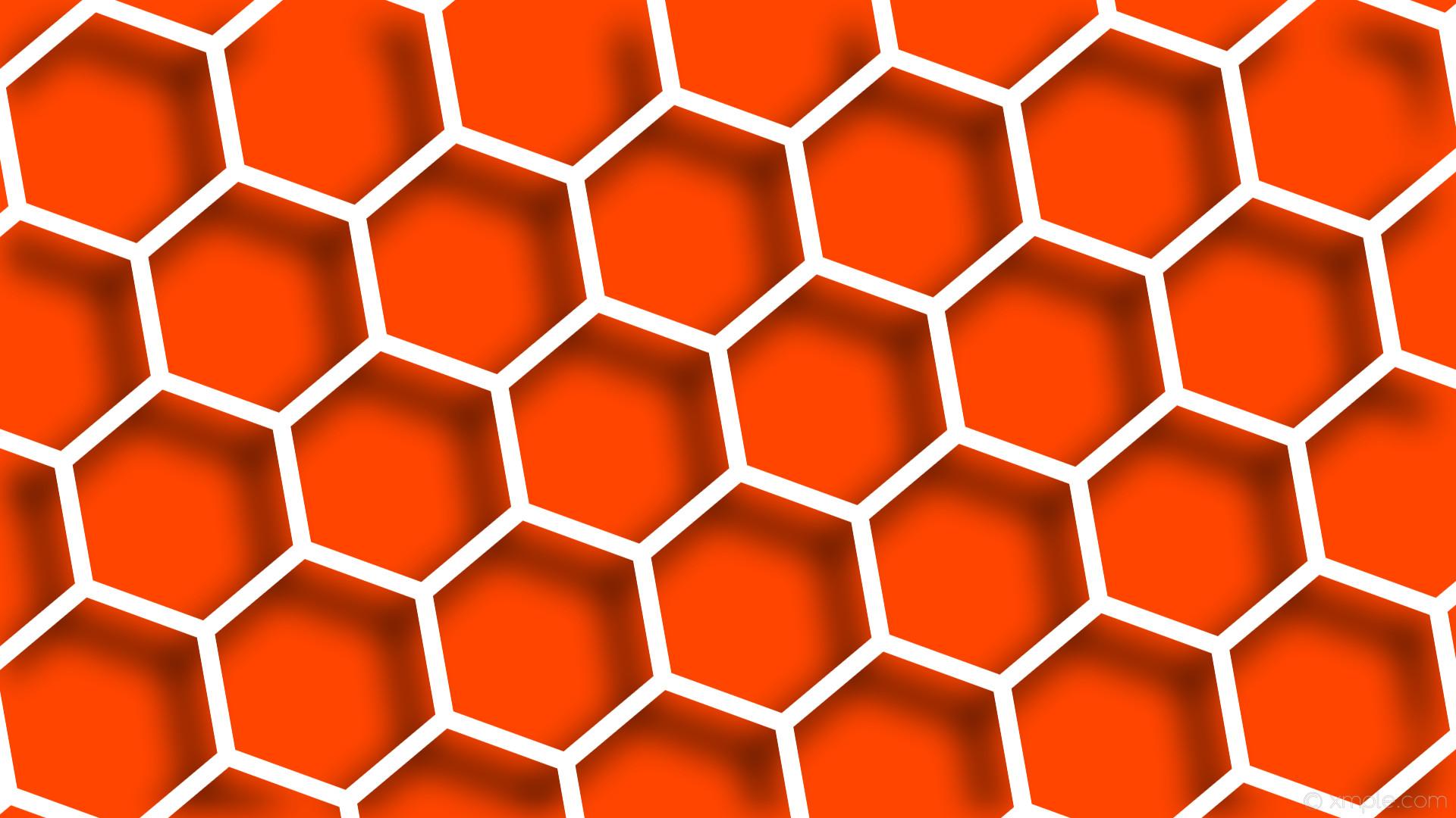 wallpaper white hexagon orange drop shadow beehive orangered #ffffff  #ff4500 40° 24px 292px