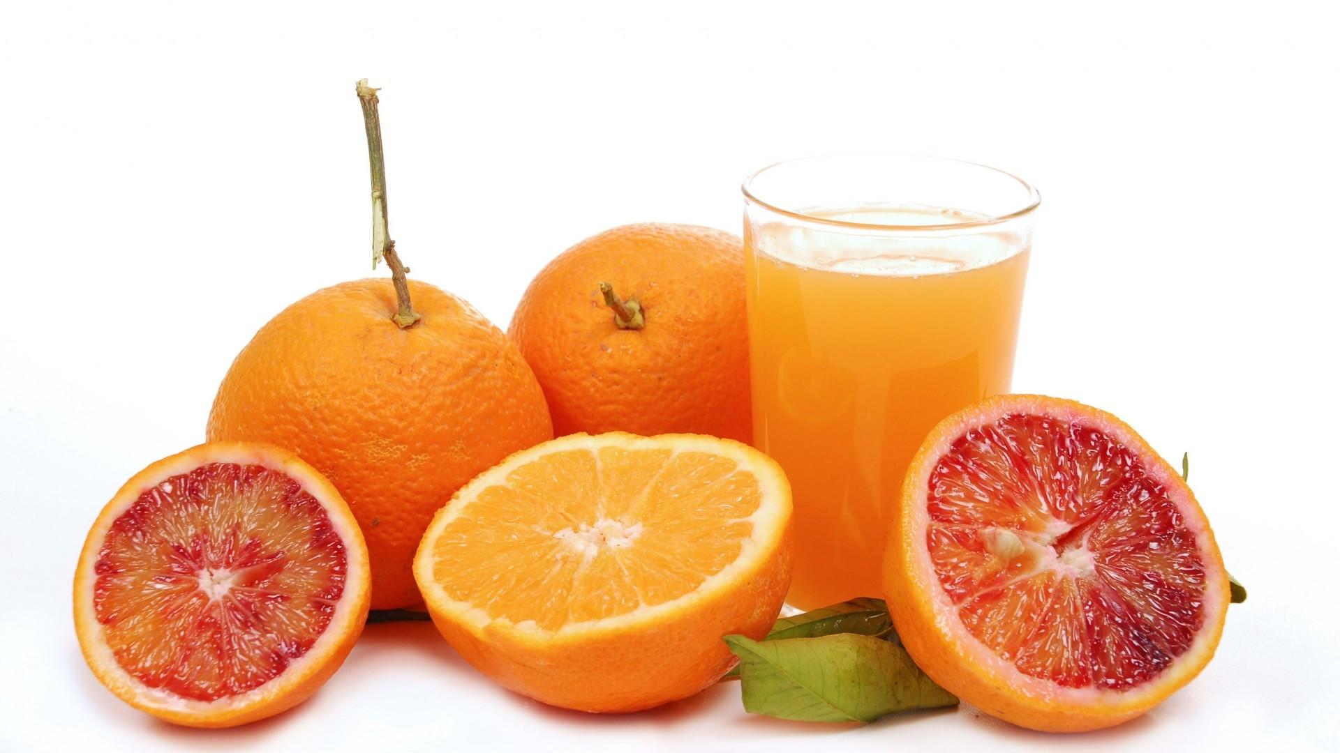 Wallpaper grapefruit, orange, juice, glass, white background