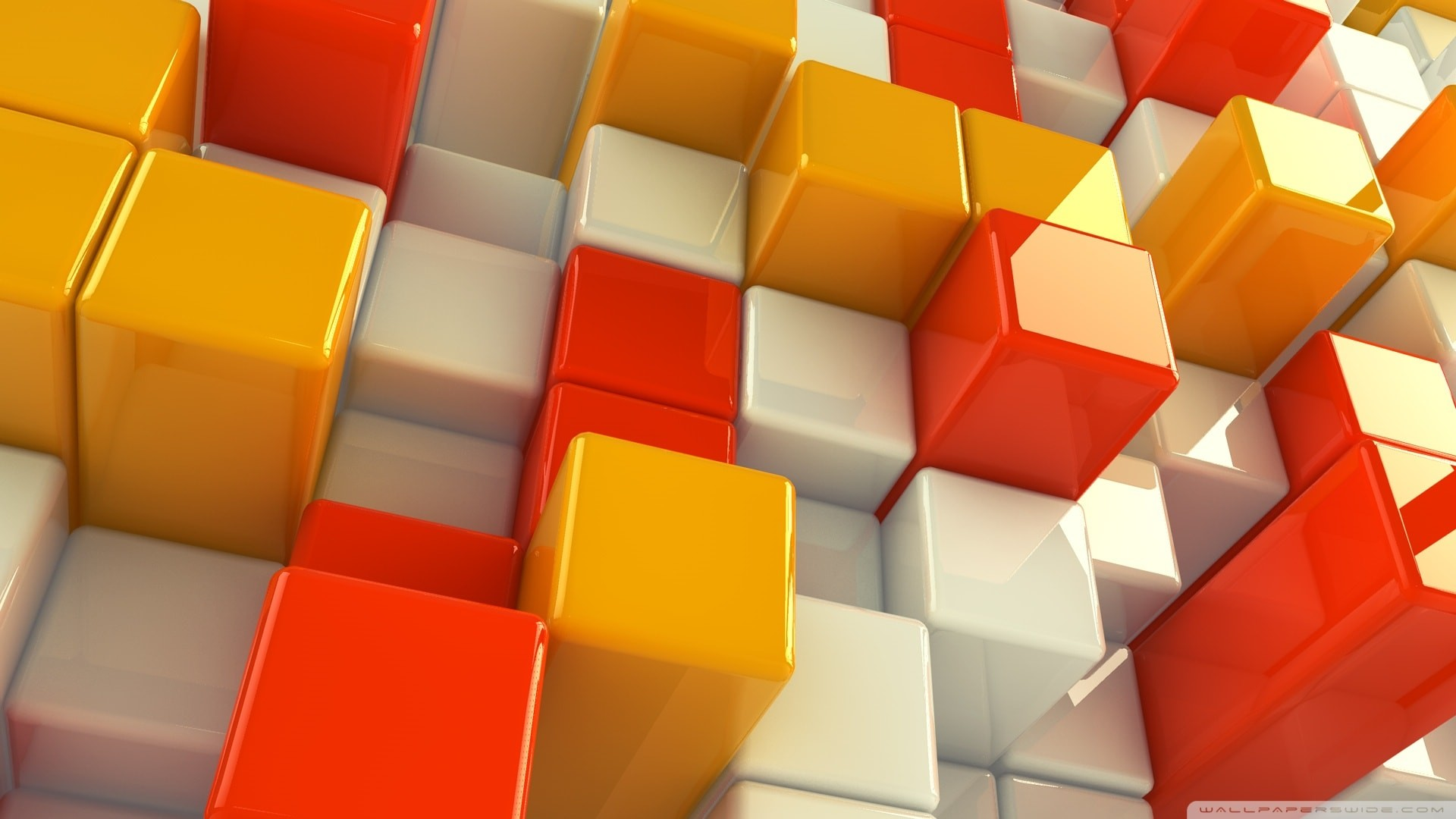 3d abstract yellow orange white cubes
