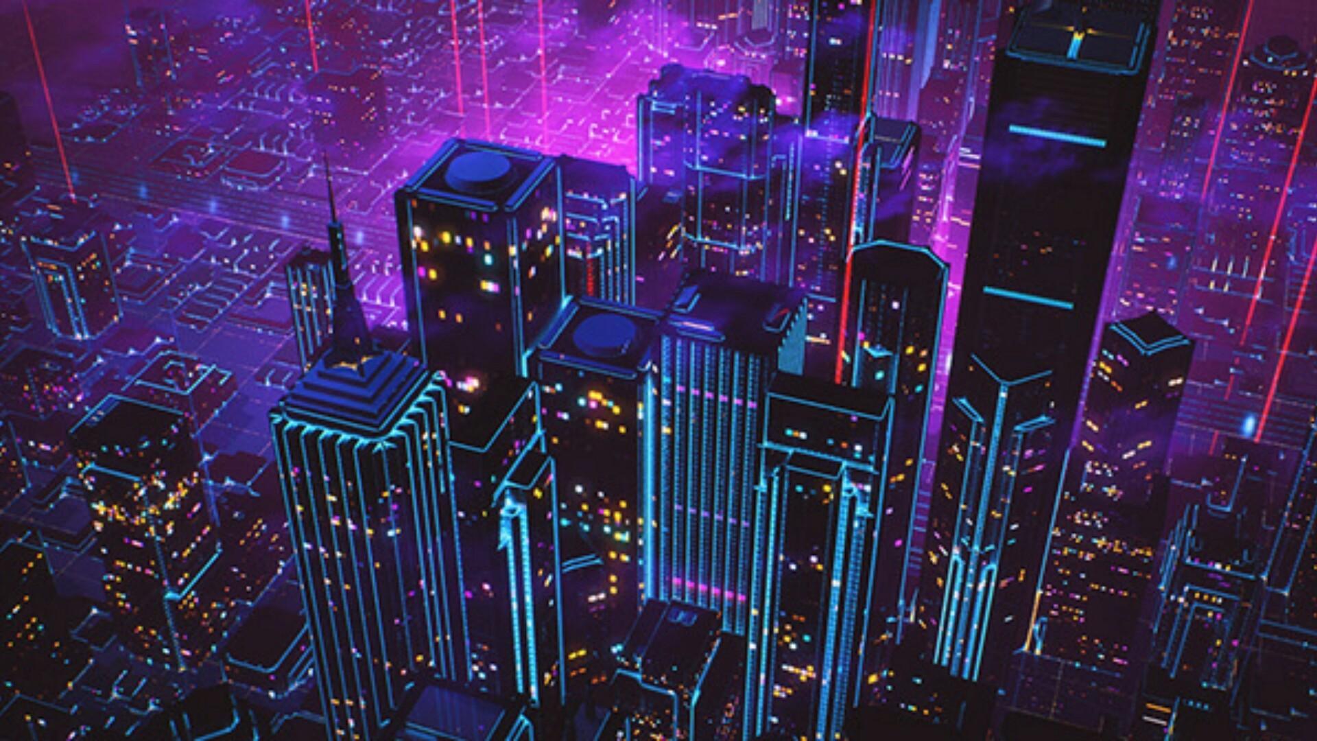 80s style retrowave neon artwork wallpaper