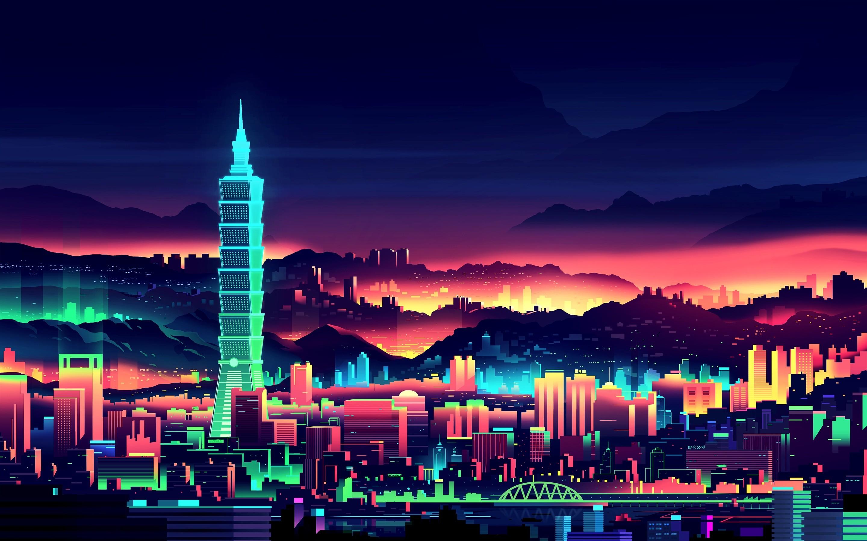 Neon-City-2880-x-1800-by-oppilonus
