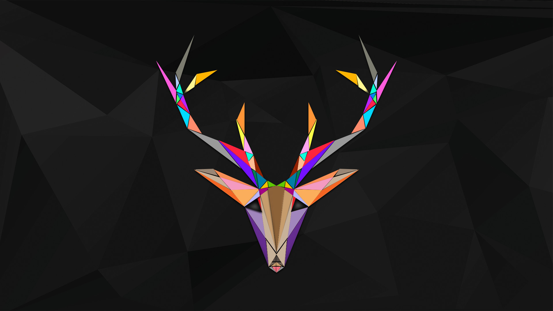 Polygonal Reindeer Colorful Dark Desktop Wallpaper