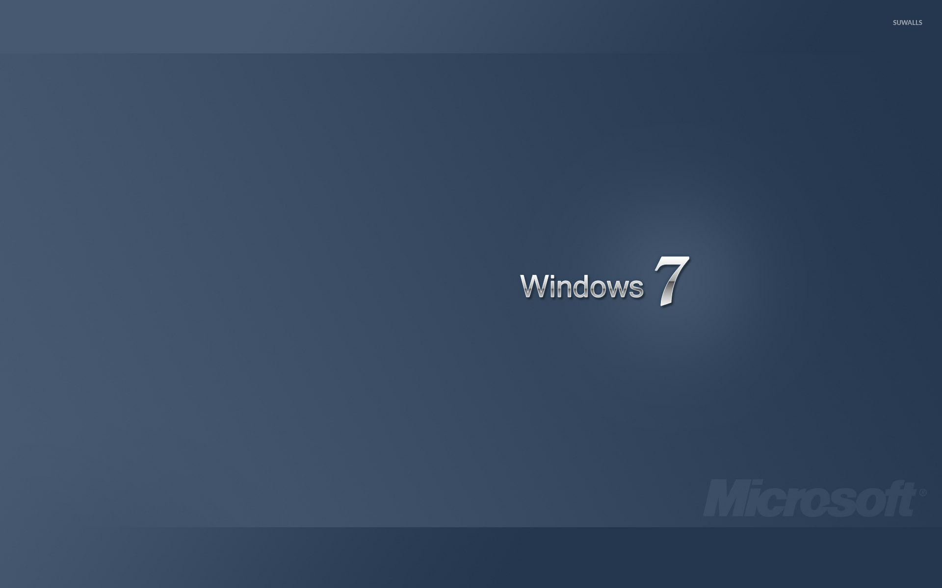 White Windows 7 on blue gradient wallpaper
