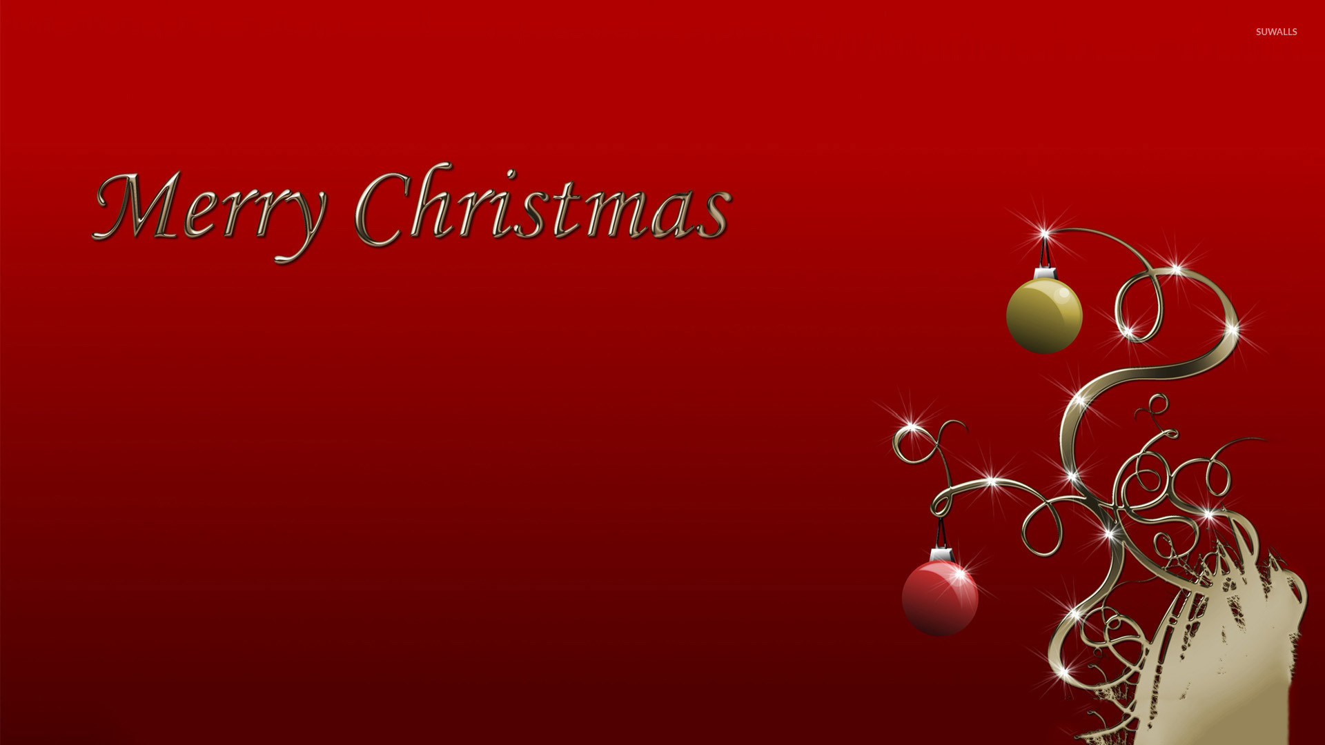 Red and green Christmas baubles wallpaper