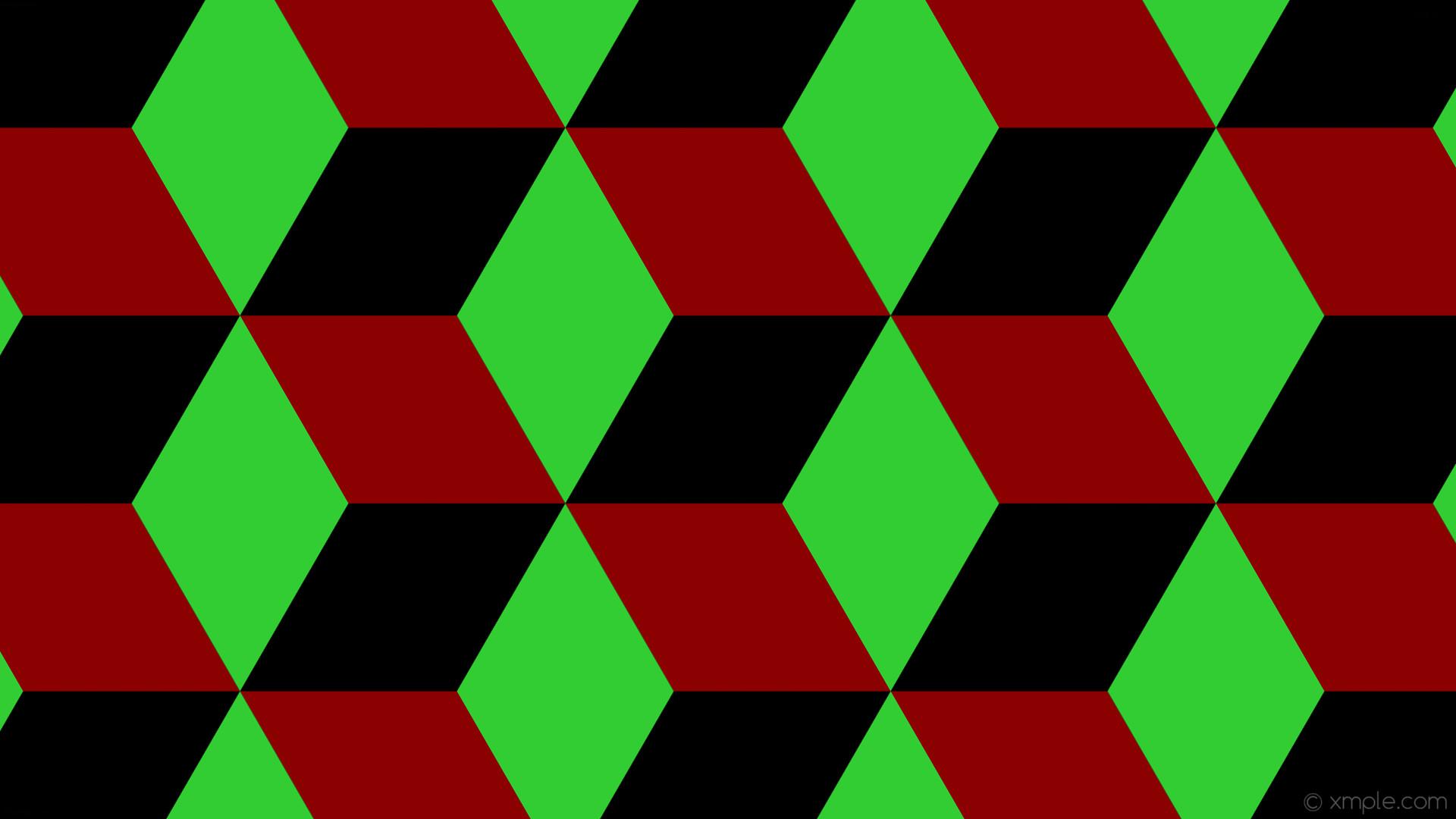 wallpaper green red 3d cubes black dark red lime green #000000 #8b0000  #32cd32