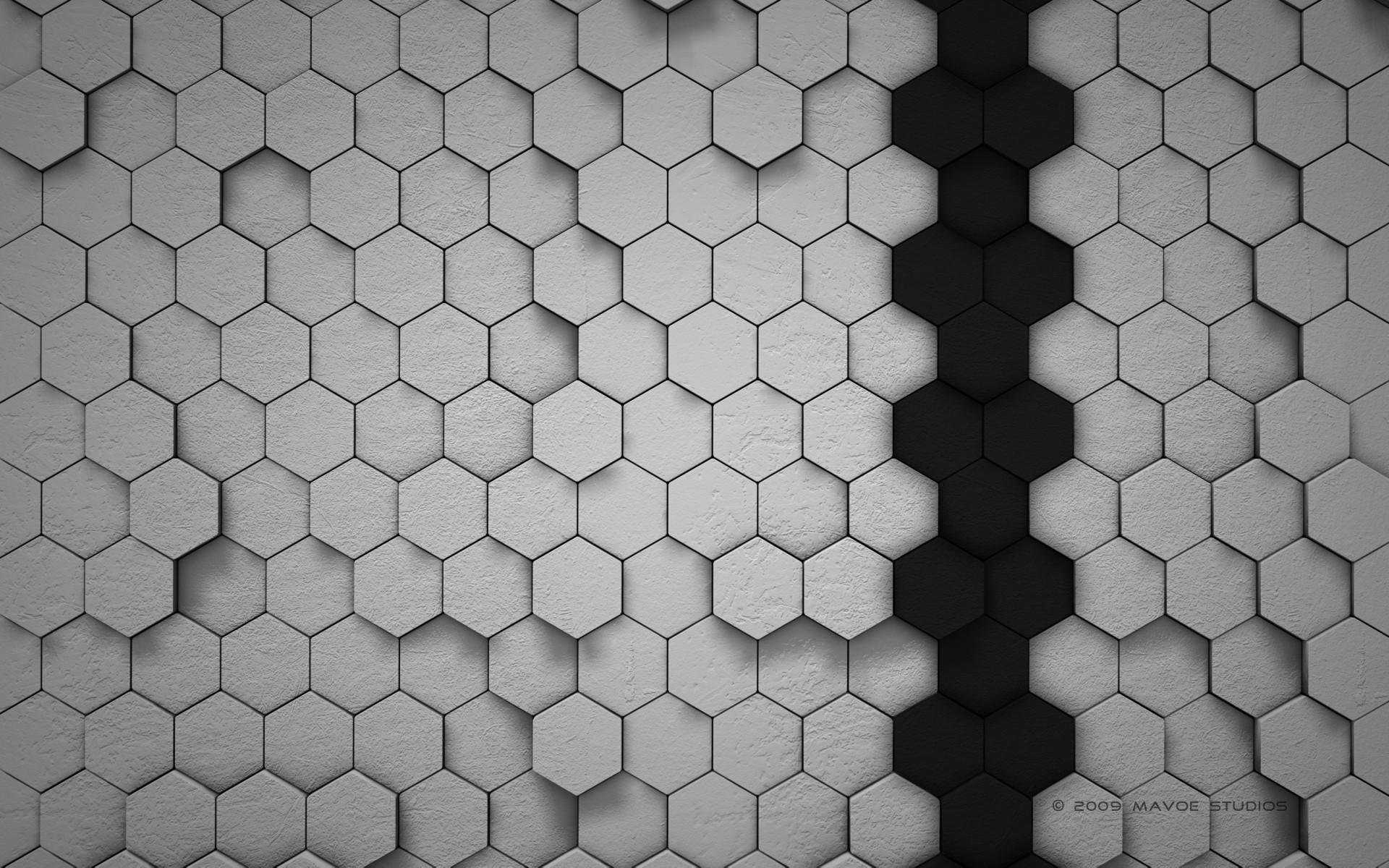 Wallpaper Honeycombs, gray background