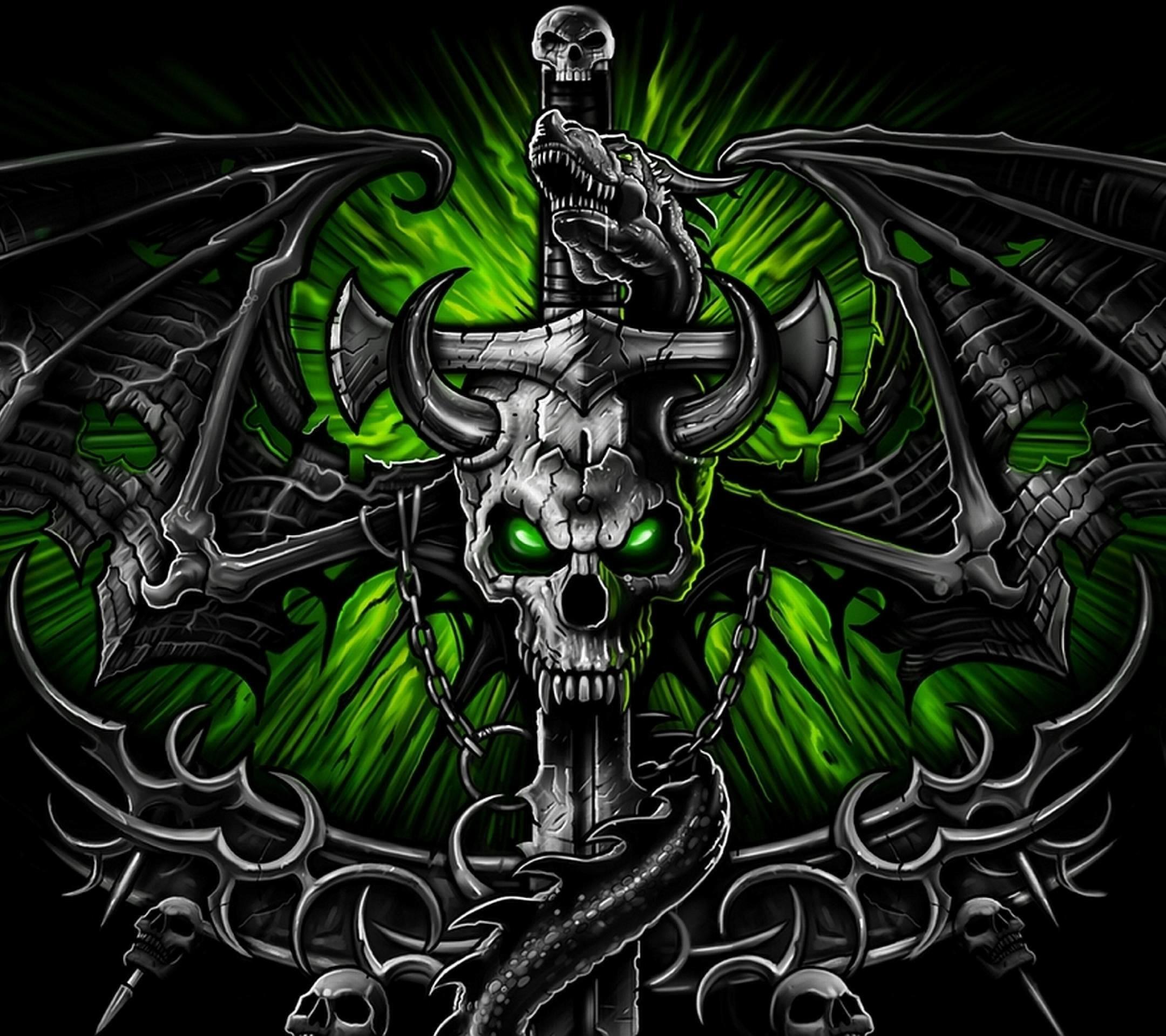 Wallpapers For > Green Skull Wallpaper