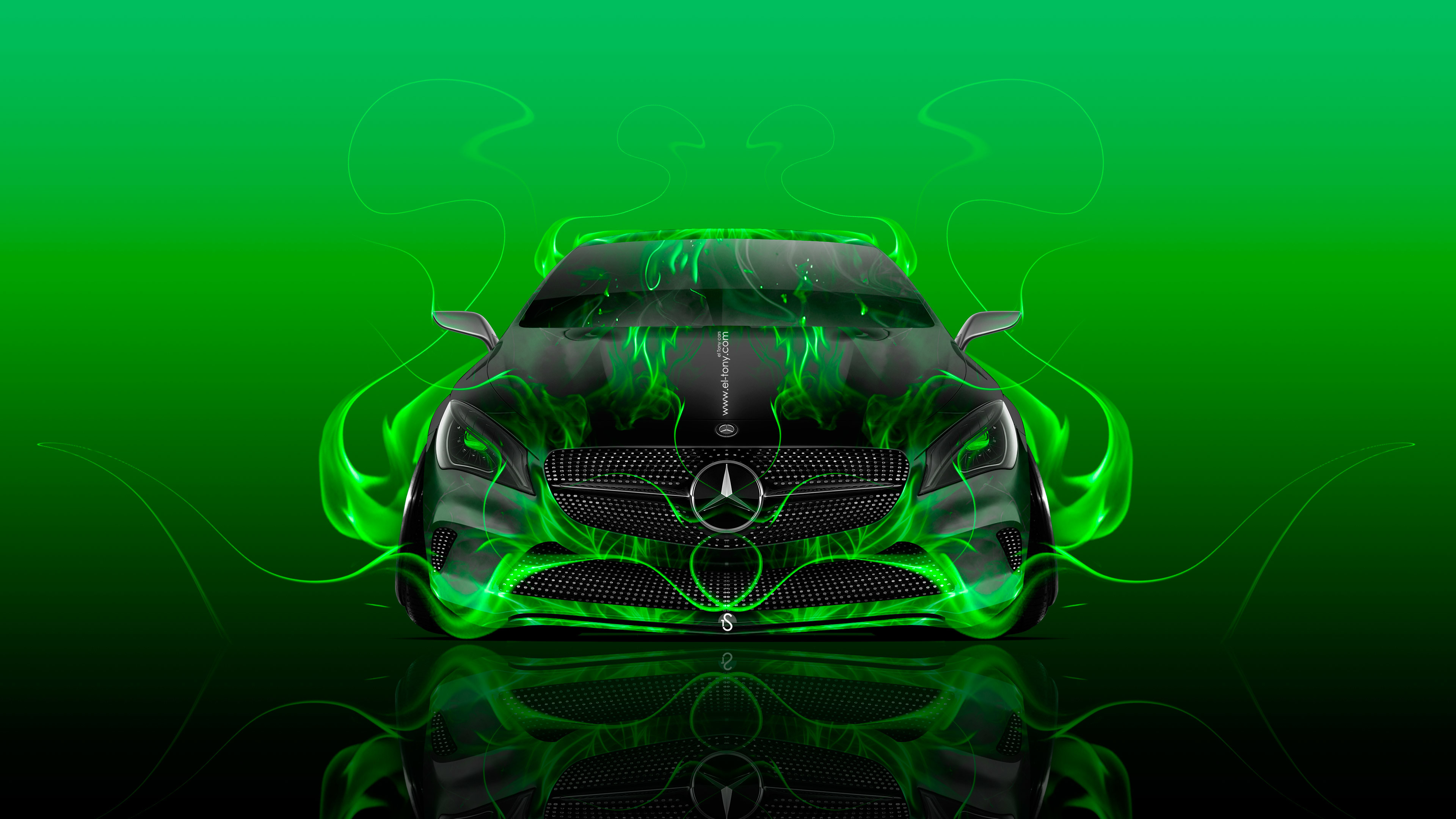 … mercedes-benz-coupe-front-fire-flame-abstract-car- …