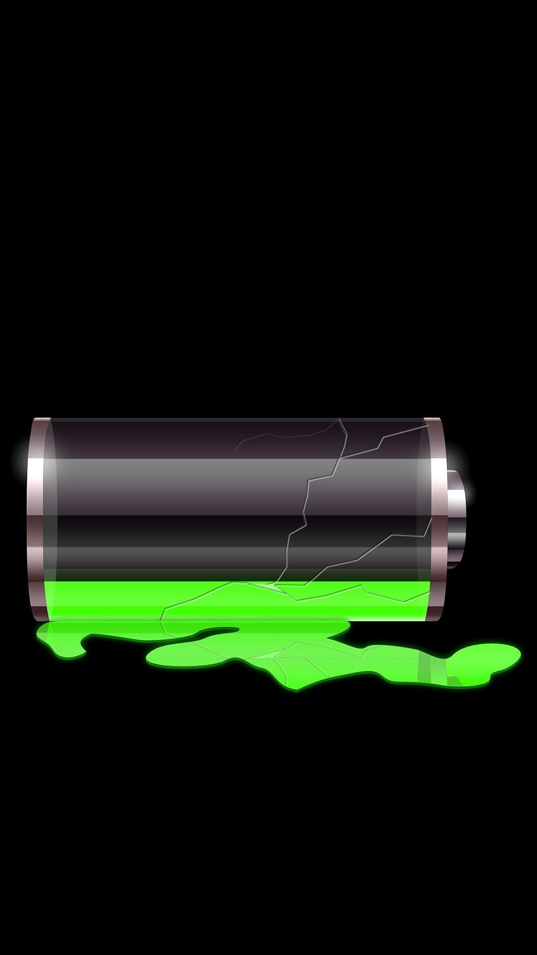 Lockscreens Broken Battery Black Neon Green Simple
