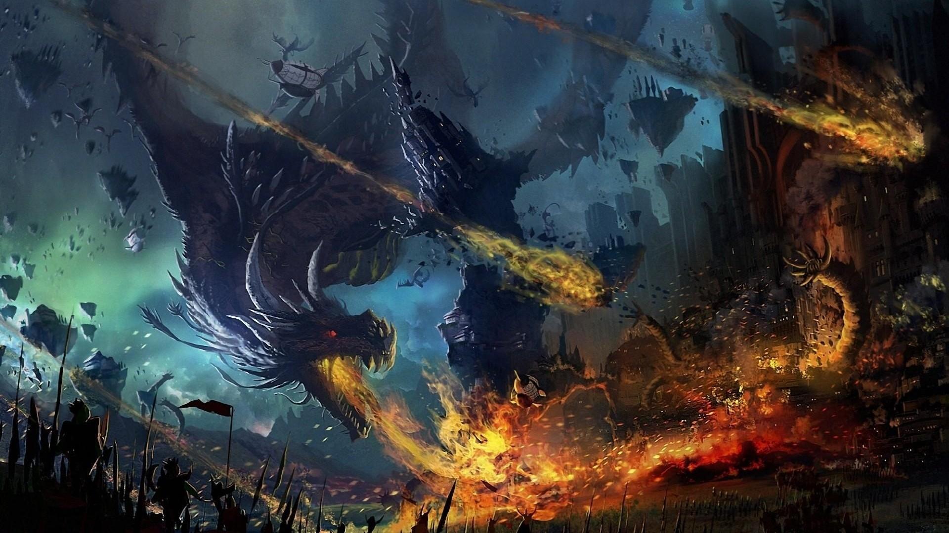 Preview wallpaper dragon, fall, fire, flame, war, battle 1920×1080