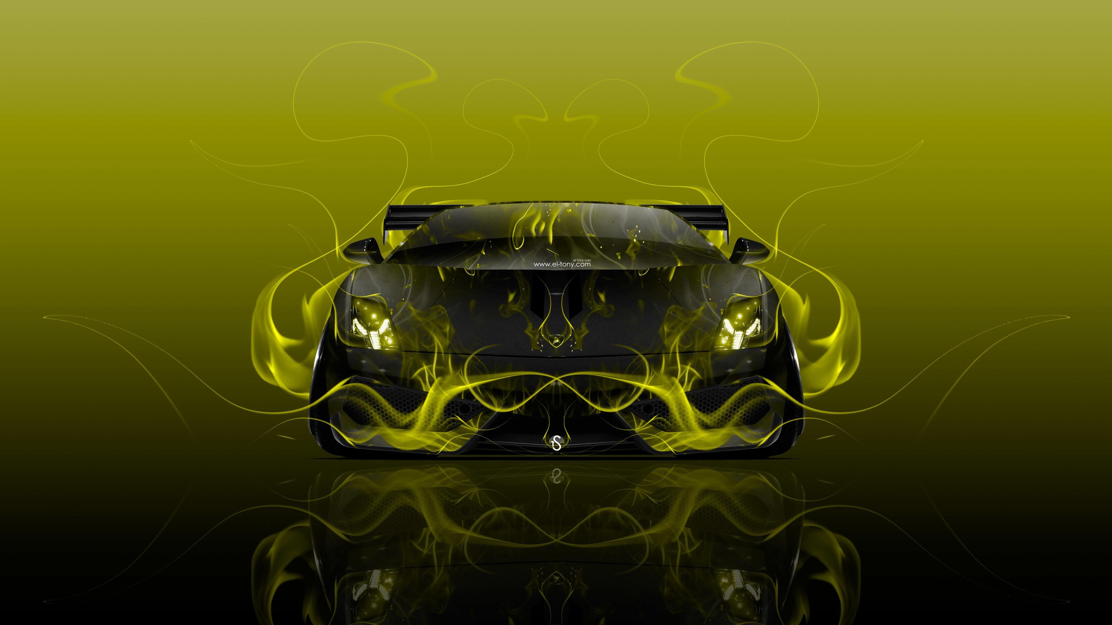 Lamborghini Gallardo Tuning Front Fire Flame Abstract Car