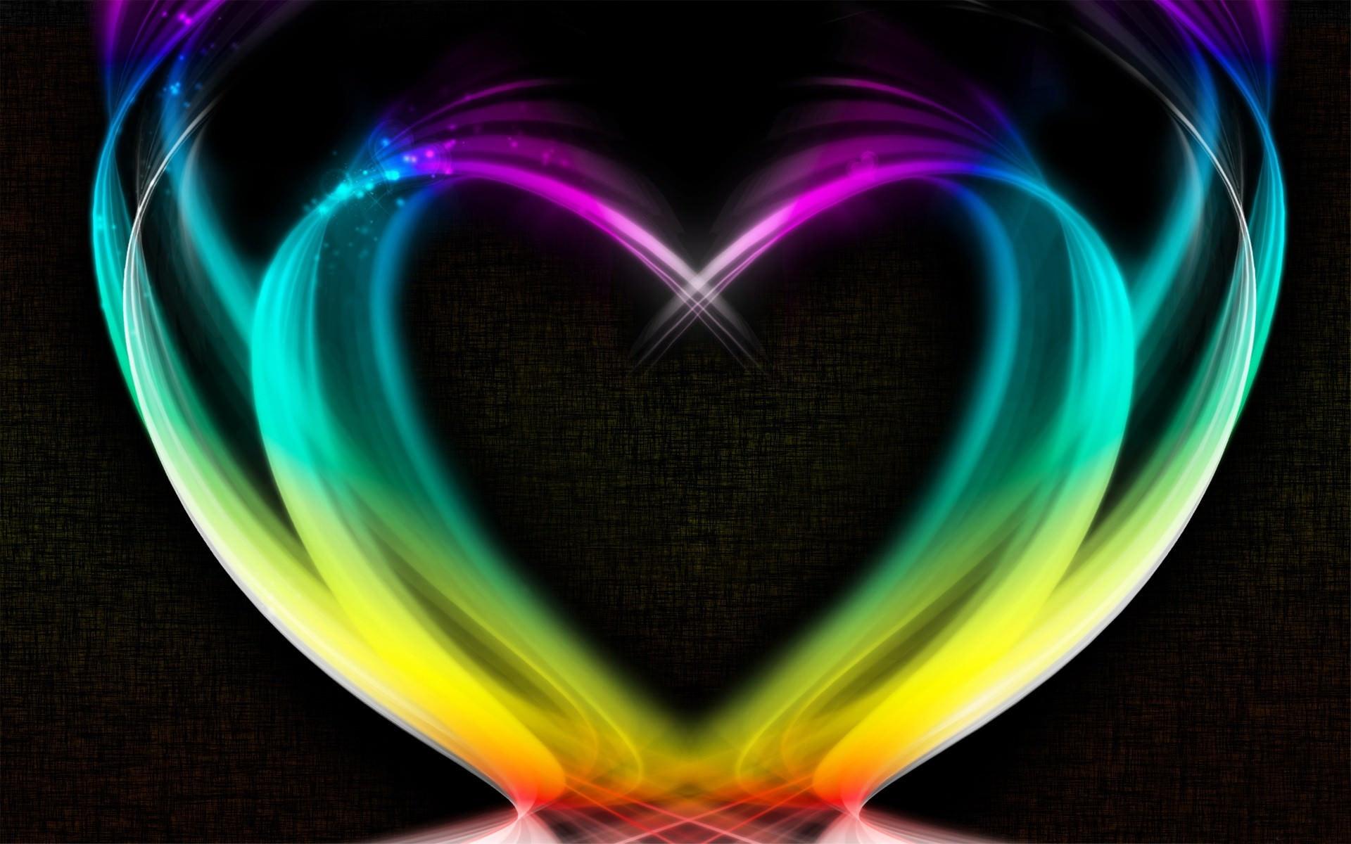 heart shape rainbow colored wallpaper