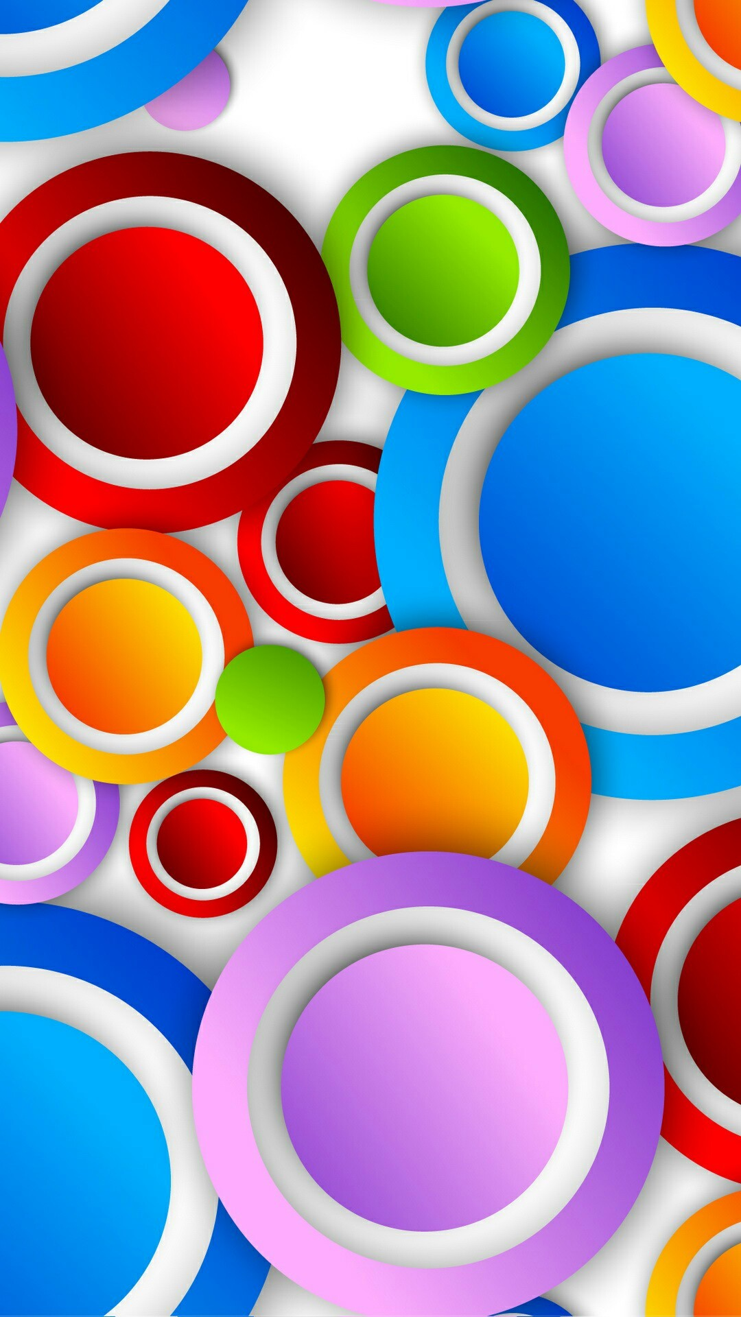 Colorful Circles with White Trim Wallpaper
