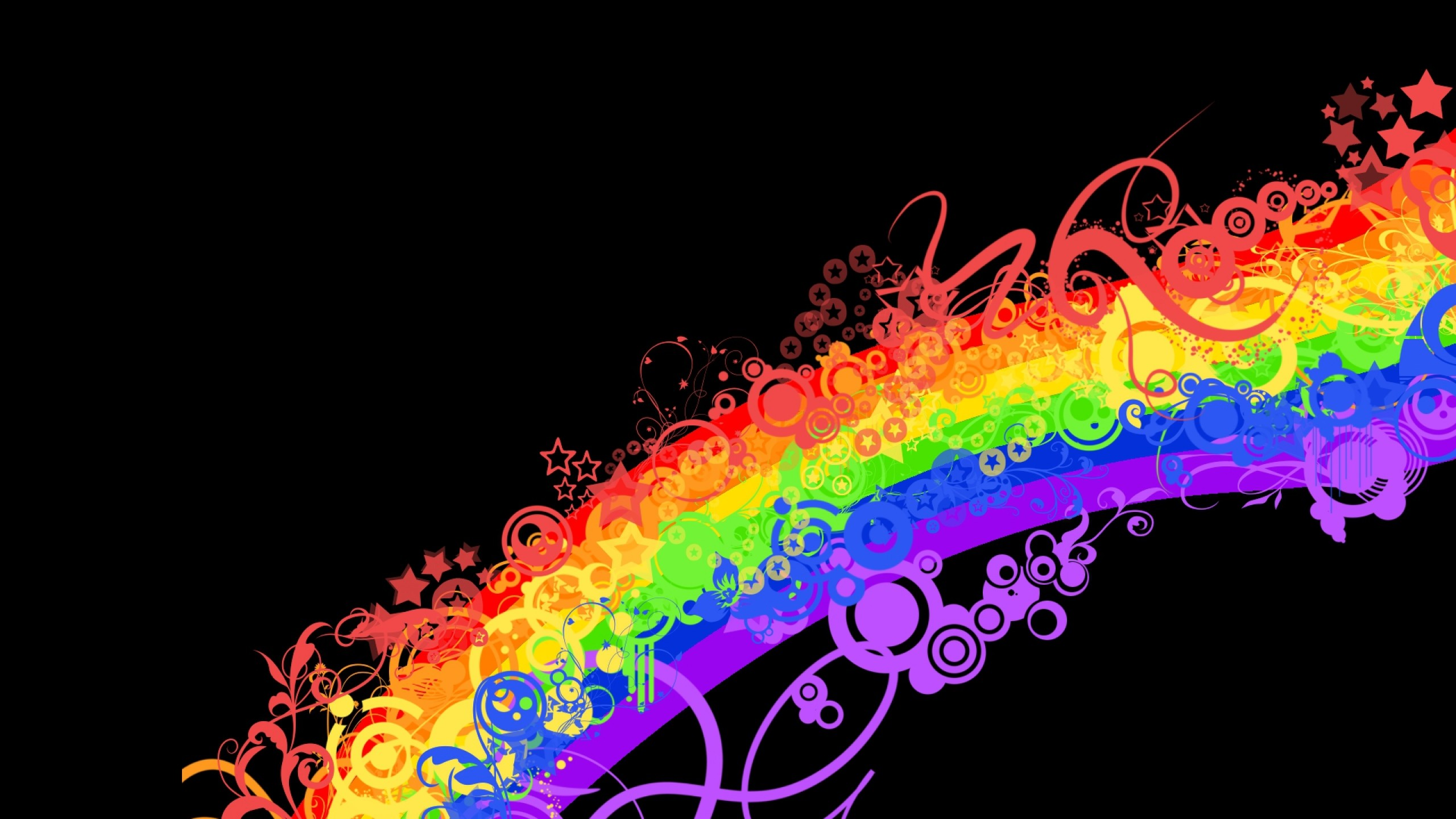 Preview wallpaper rainbow, colorful, background, lines, patterns 2560×1440