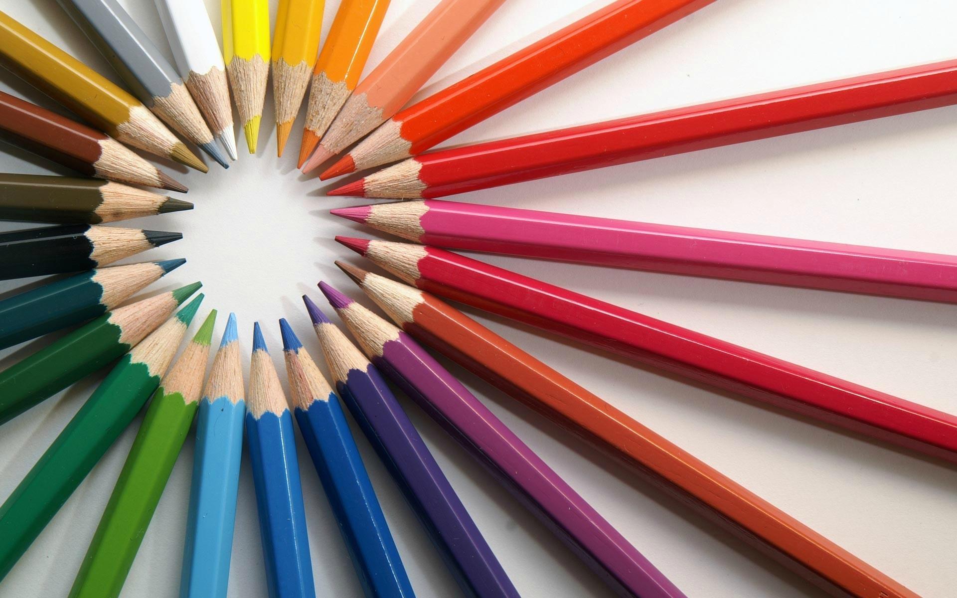 Rainbow Colored Pencils Wallpaper