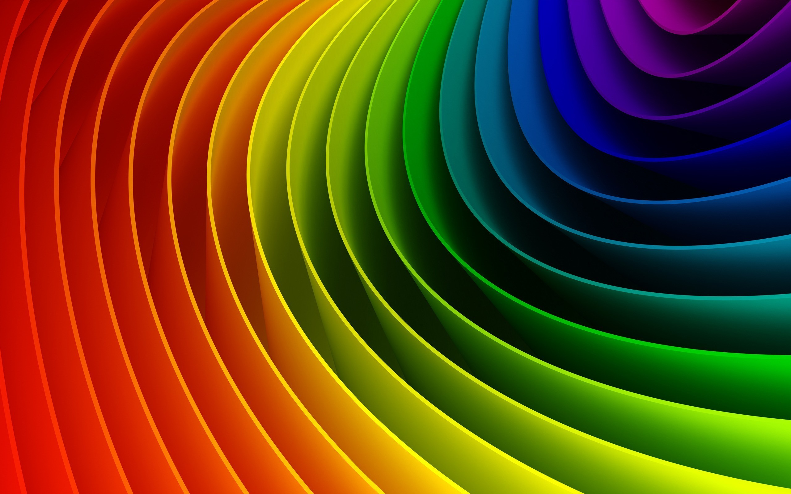 Curved colorful rainbow desktop PC and Mac wallpaper