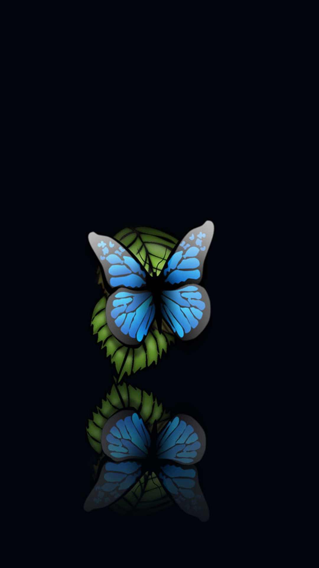 Blue Butterfly Black Background Android Wallpaper …