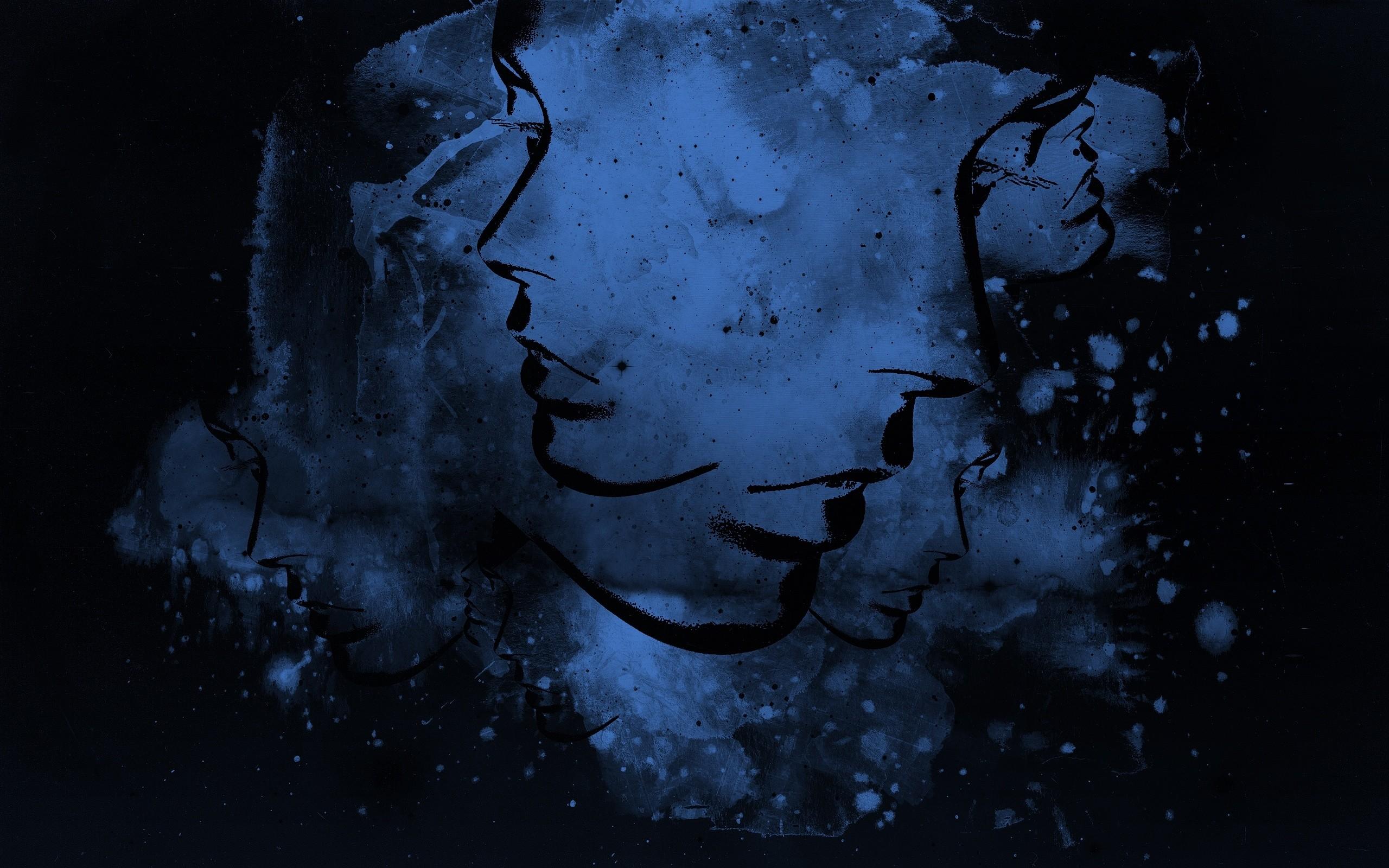 Wallpaper Abstract, Blue, Black, Light