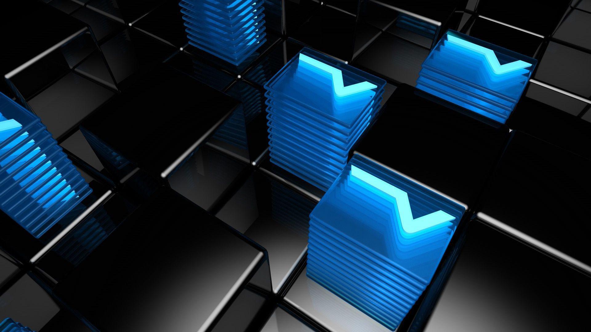 hd pics photos attractive digital blue black neon cubes hd quality desktop background  wallpaper