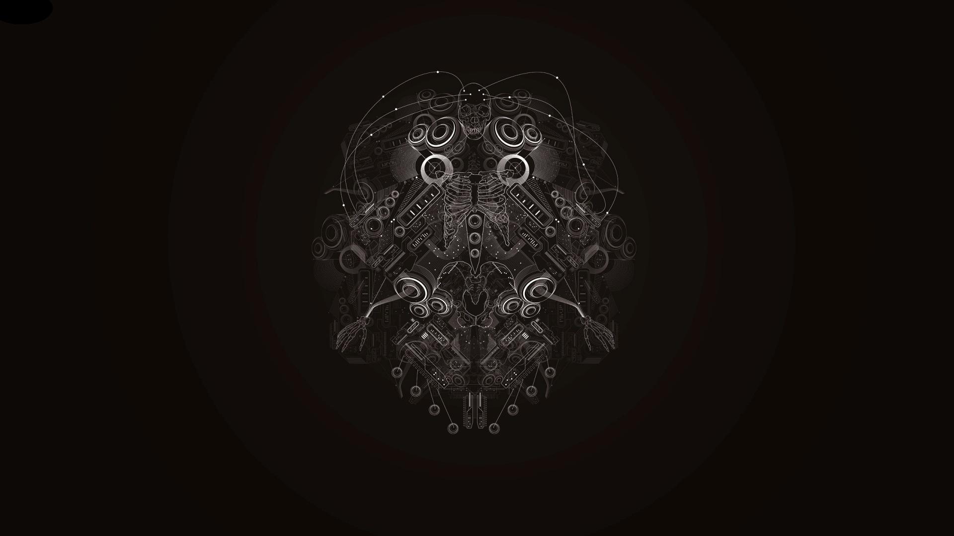 Abstract Black Background Dark Futuristic Lines Skeletons Skulls Techno