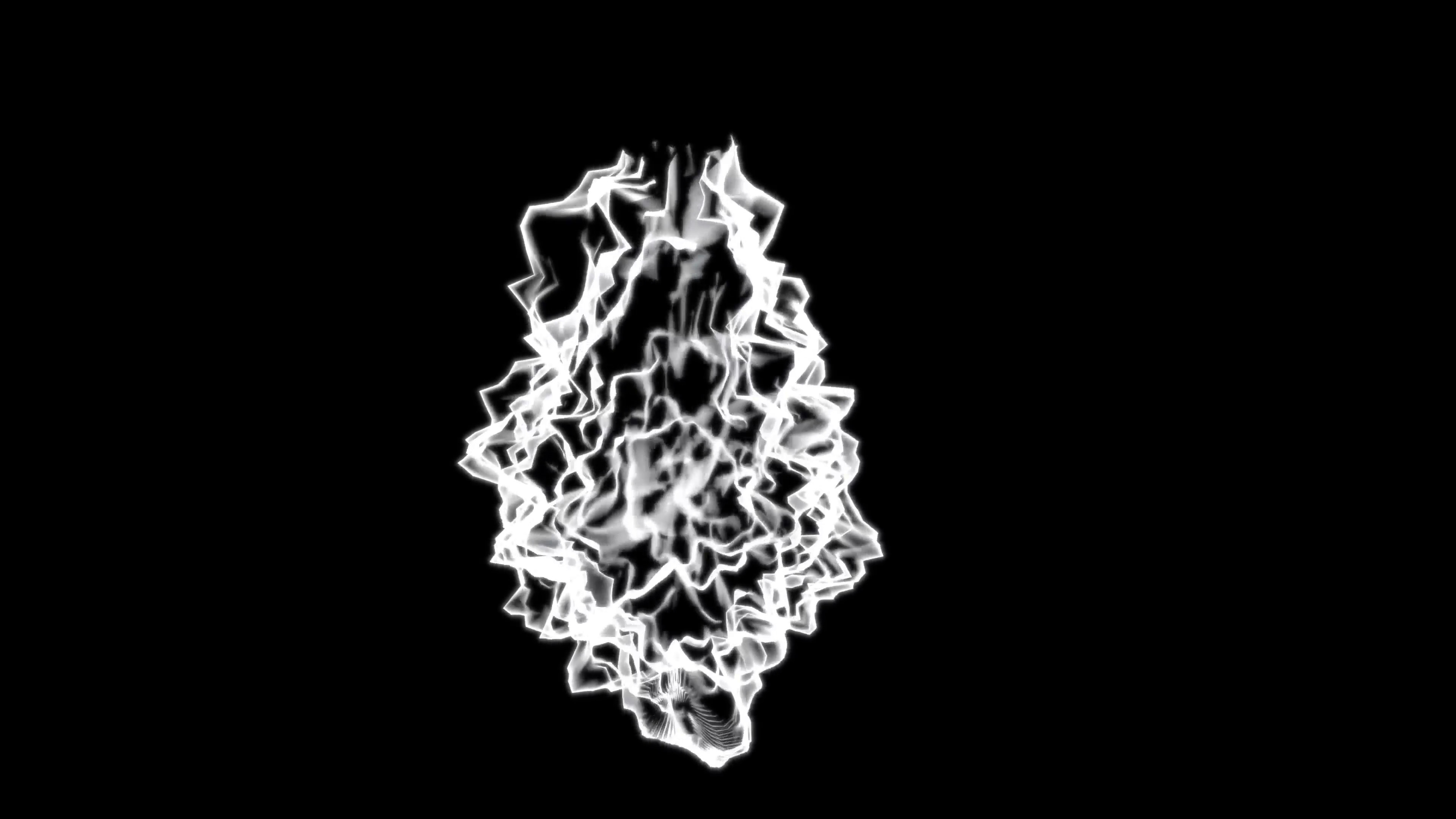 Subscription Library 4K Abstract pulsing white energy mass on a black  background