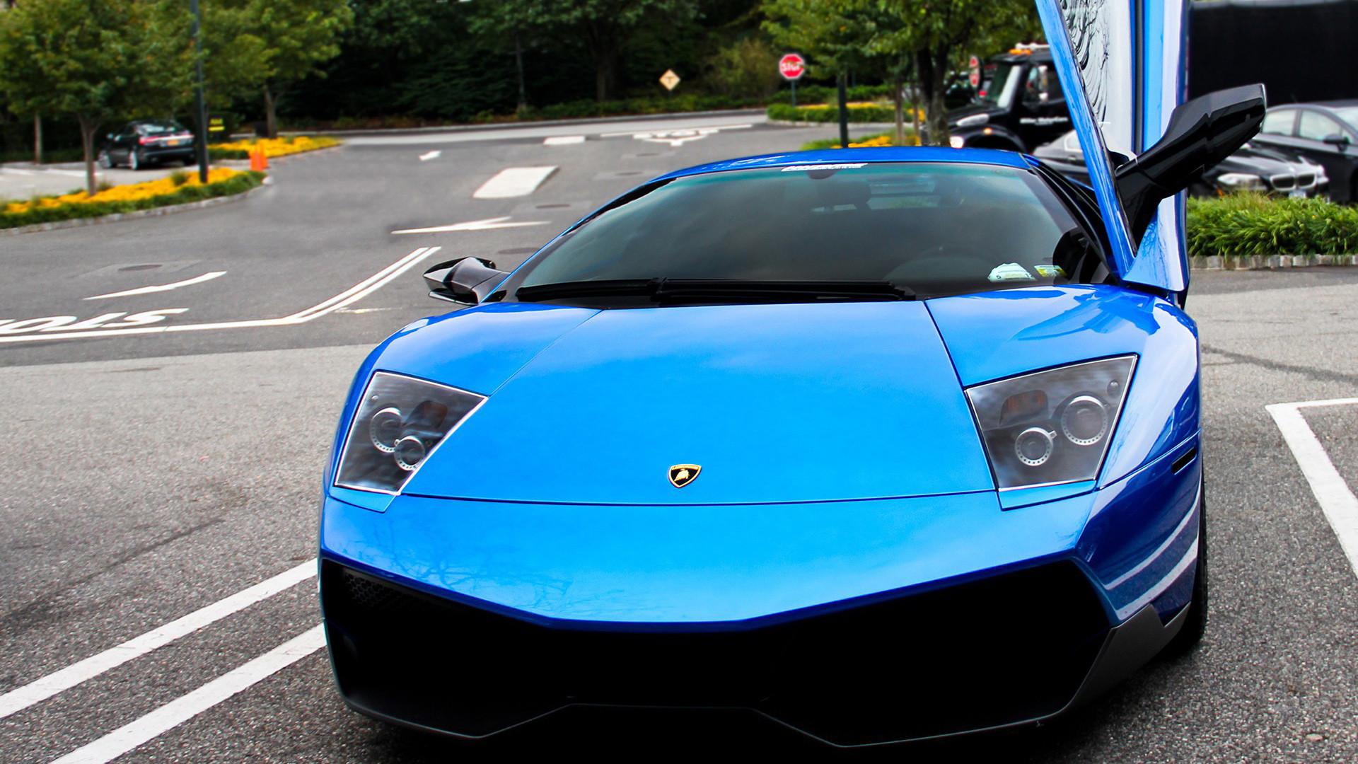 Blue Lamborghini Car