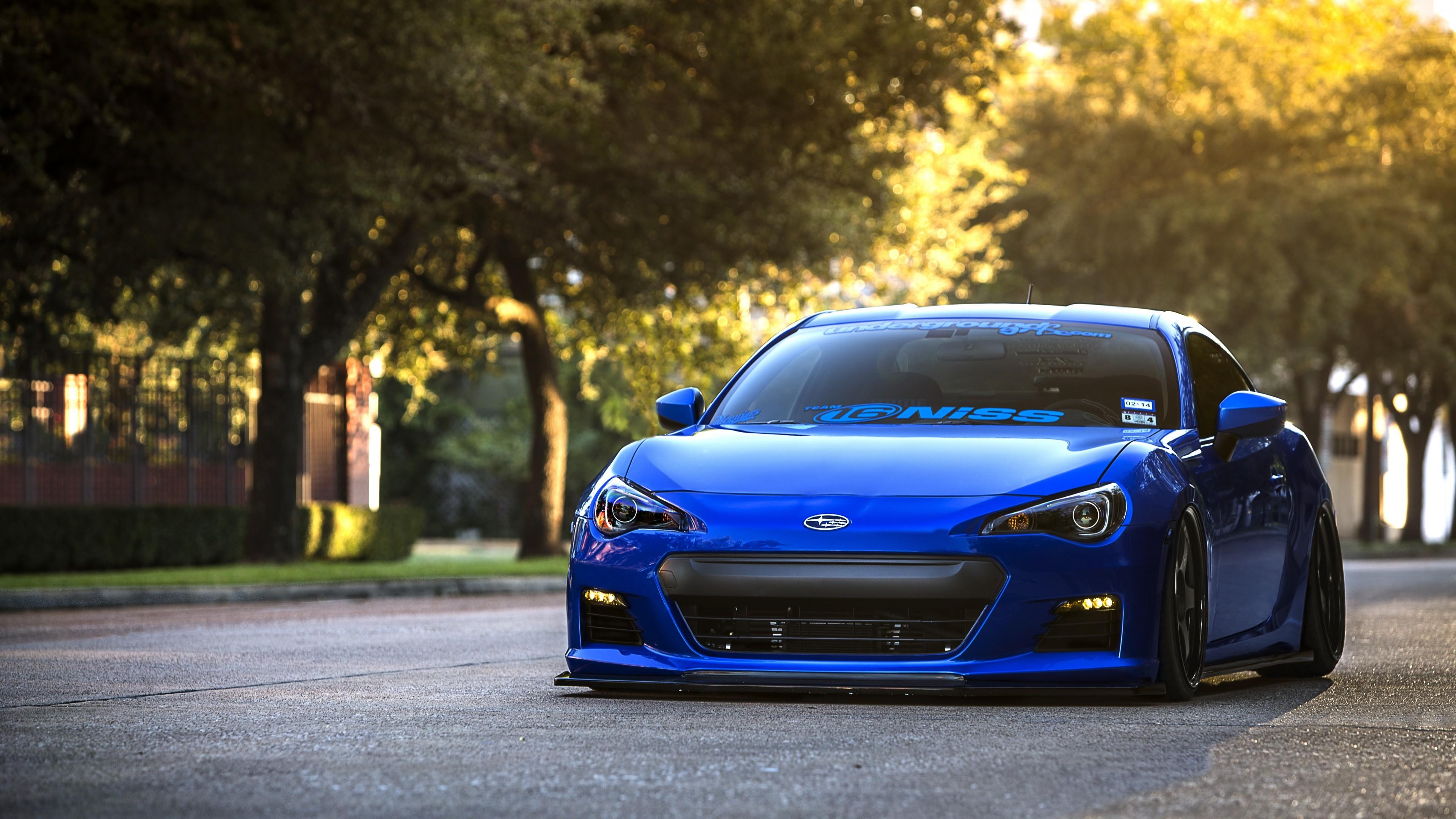 Preview wallpaper subaru, brz, blue, front, sports car, coupe 3840×2160