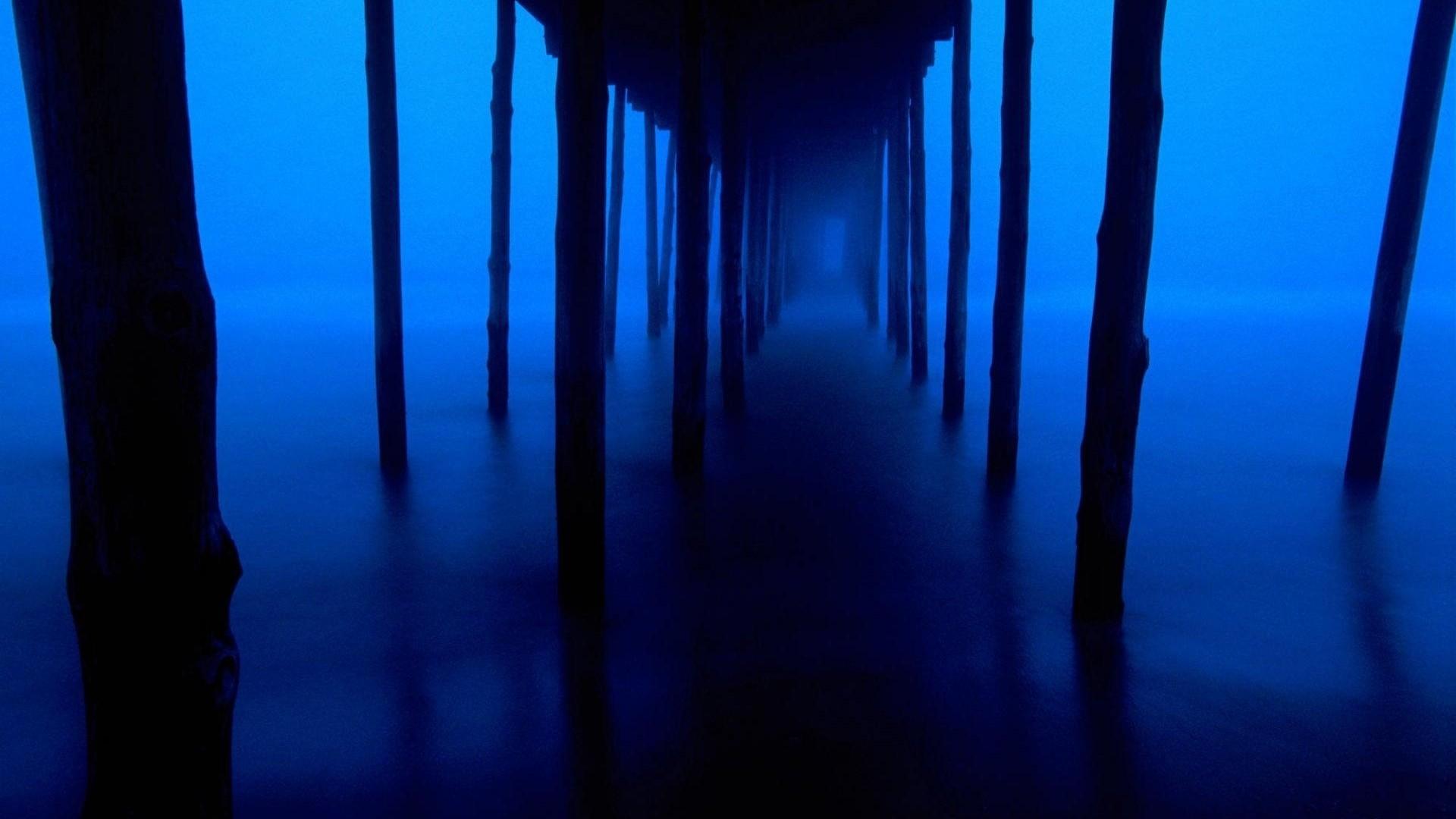 Preview wallpaper dark blue, support, bridge, mysterious 1920×1080