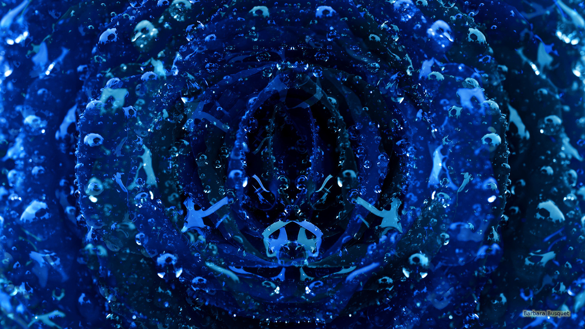 Dark blue wallpaper with water drops