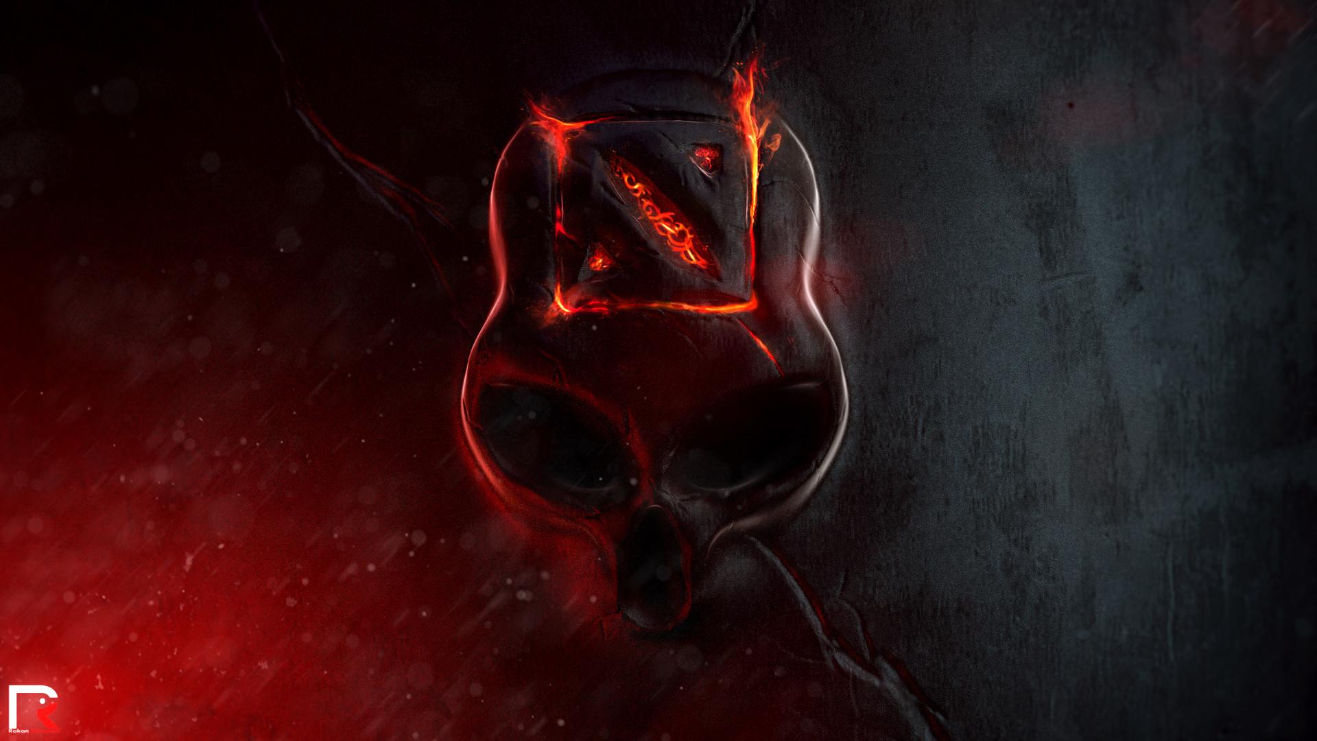 dota 2 logo flaming / fire skull game hd wallpaper , image , picture .