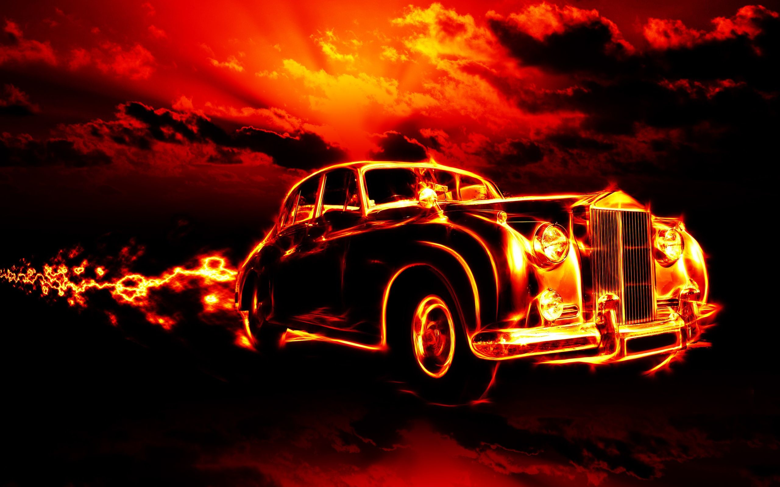 creepy, fire, flame, hell, ghost rider, city, clouds .