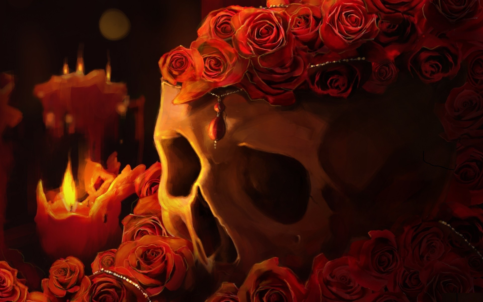 Roses Candles Fantasy candle skull goth gothic fire dark wallpaper .