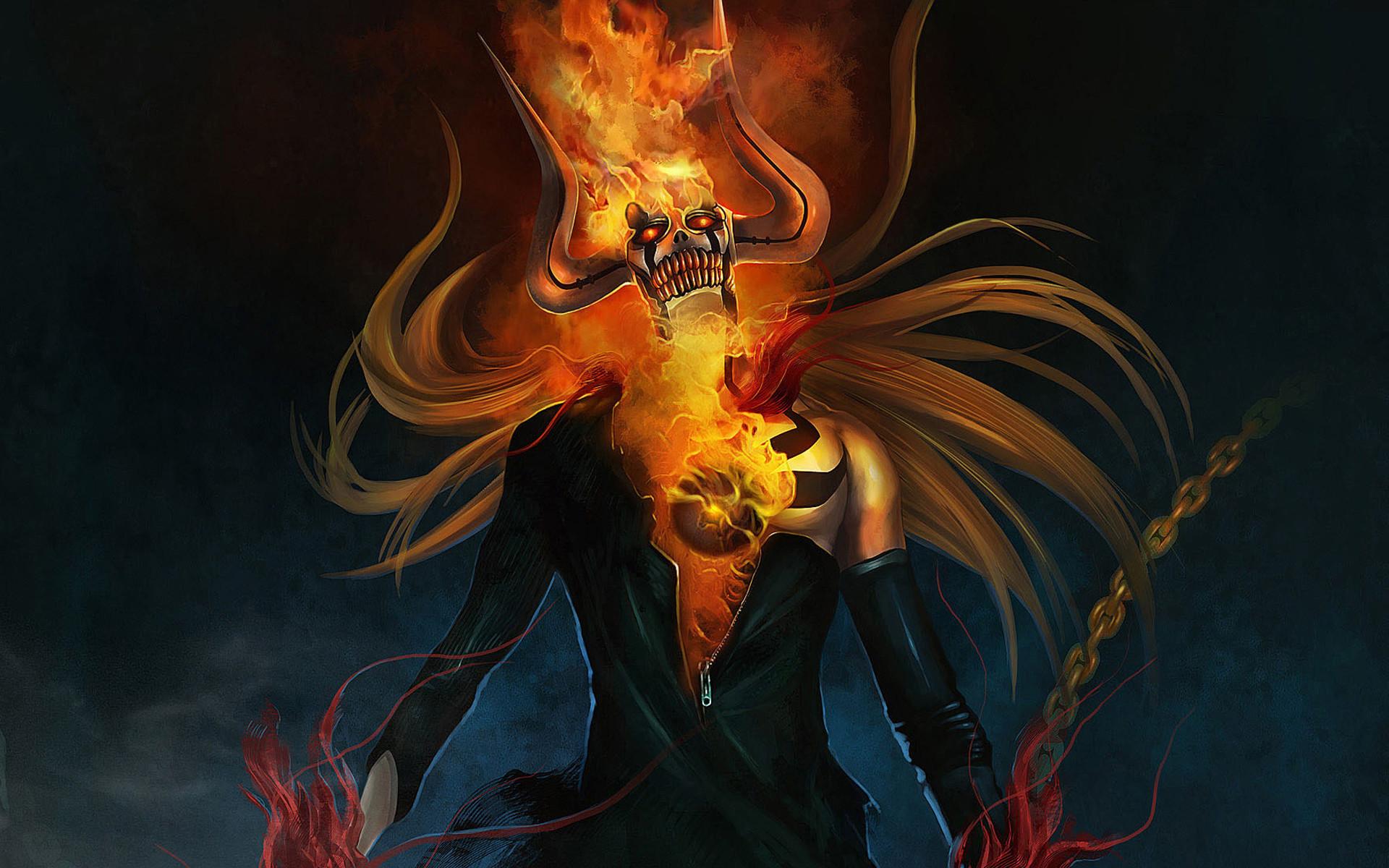 Vasto Lorde Bleach Ichigo Flaming Skull Anime Wallpaper 1920×1200