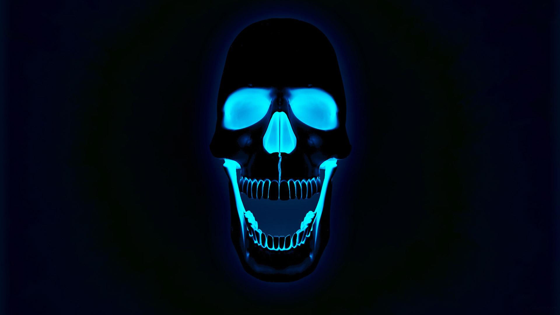 Glowing neon skull wallpaper