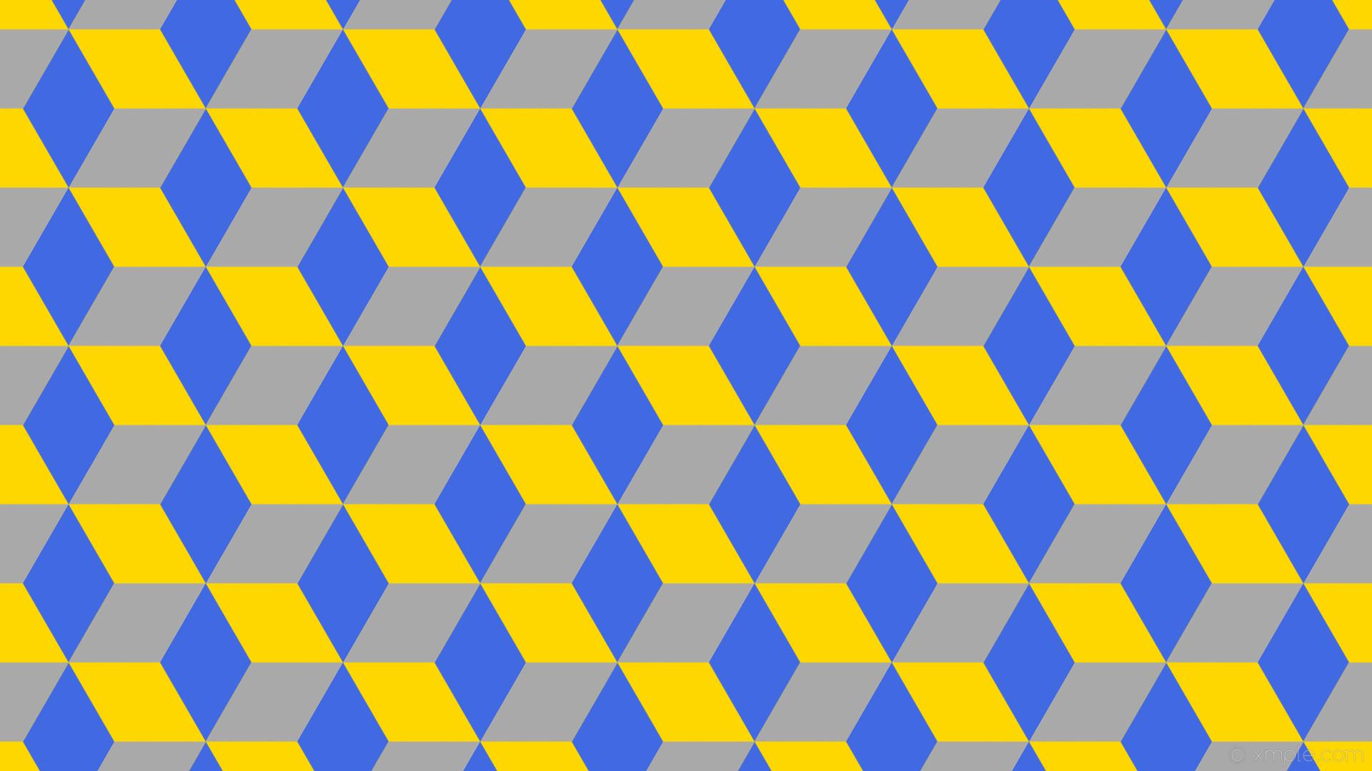 wallpaper 3d cubes blue yellow grey gold royal blue dark gray #ffd700  #4169e1 #