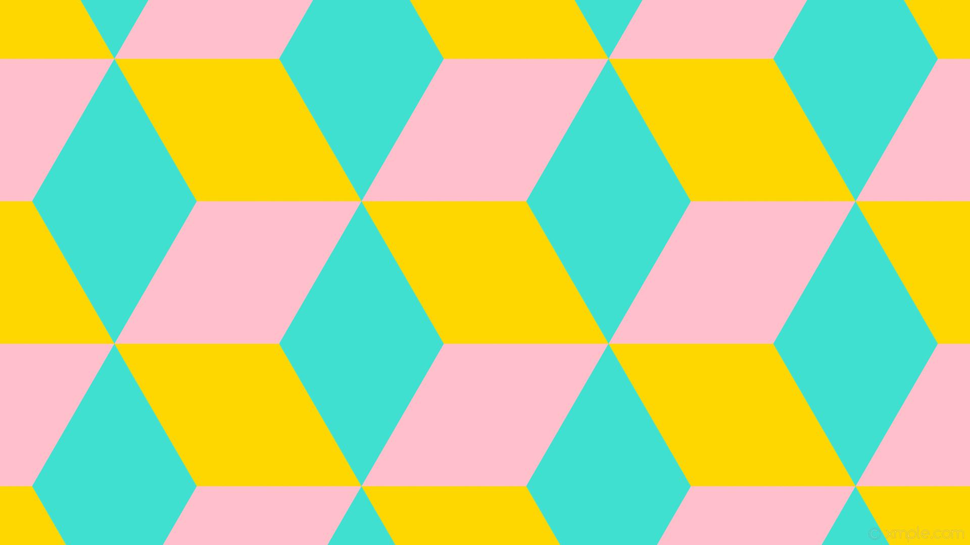 wallpaper 3d cubes yellow blue pink gold turquoise #ffd700 #40e0d0 #ffc0cb  330°