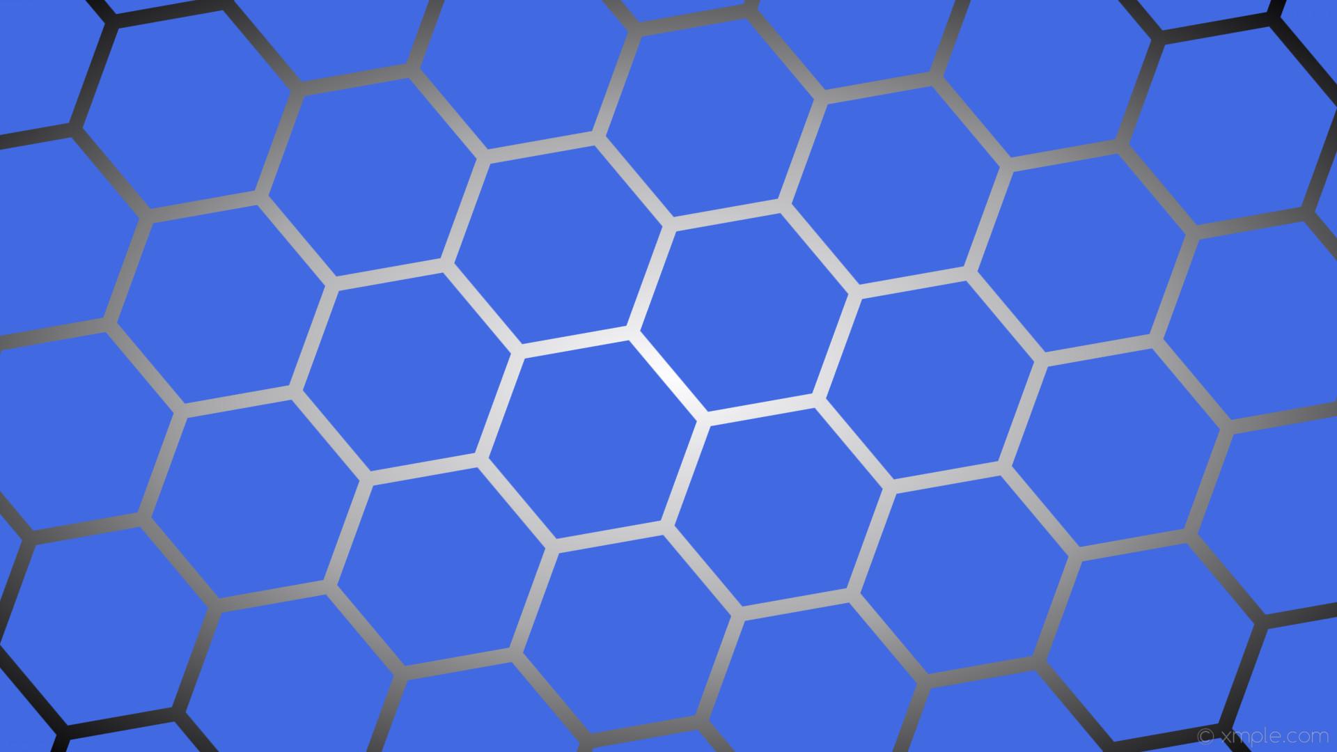 wallpaper grey gradient hexagon black blue white glow royal blue dark gray  #4169e1 #ffffff