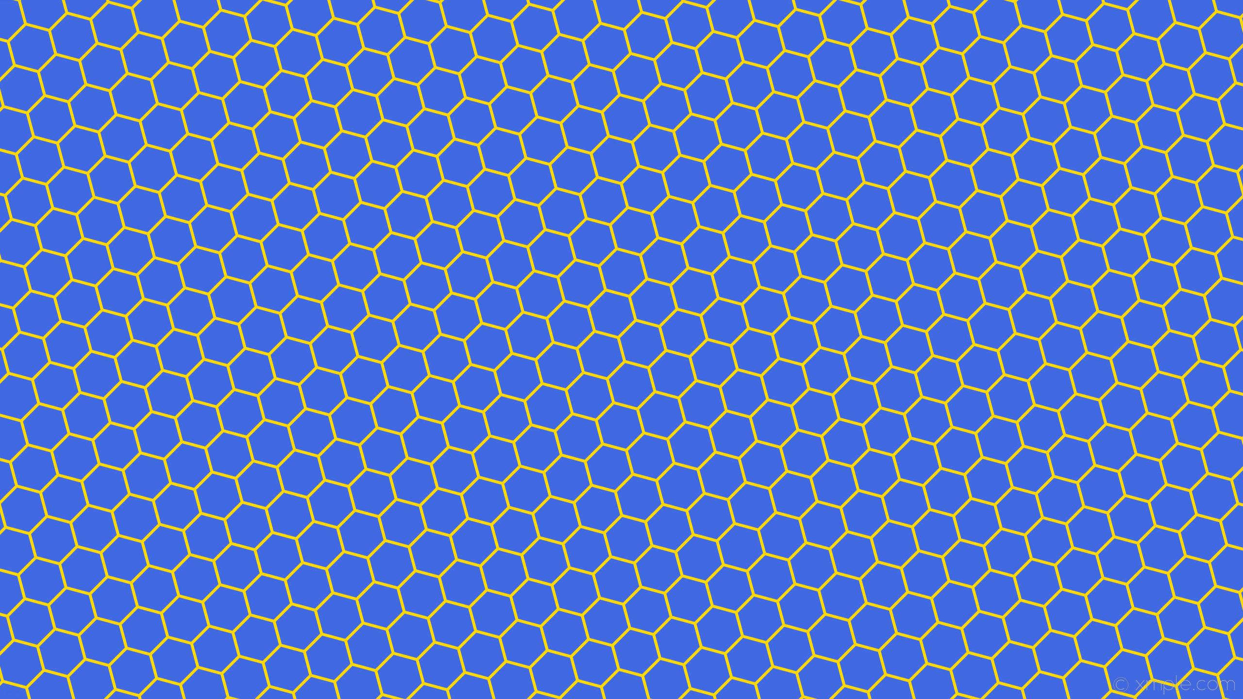 wallpaper yellow hexagon beehive honeycomb blue royal blue gold #4169e1  #ffd700 diagonal 15°