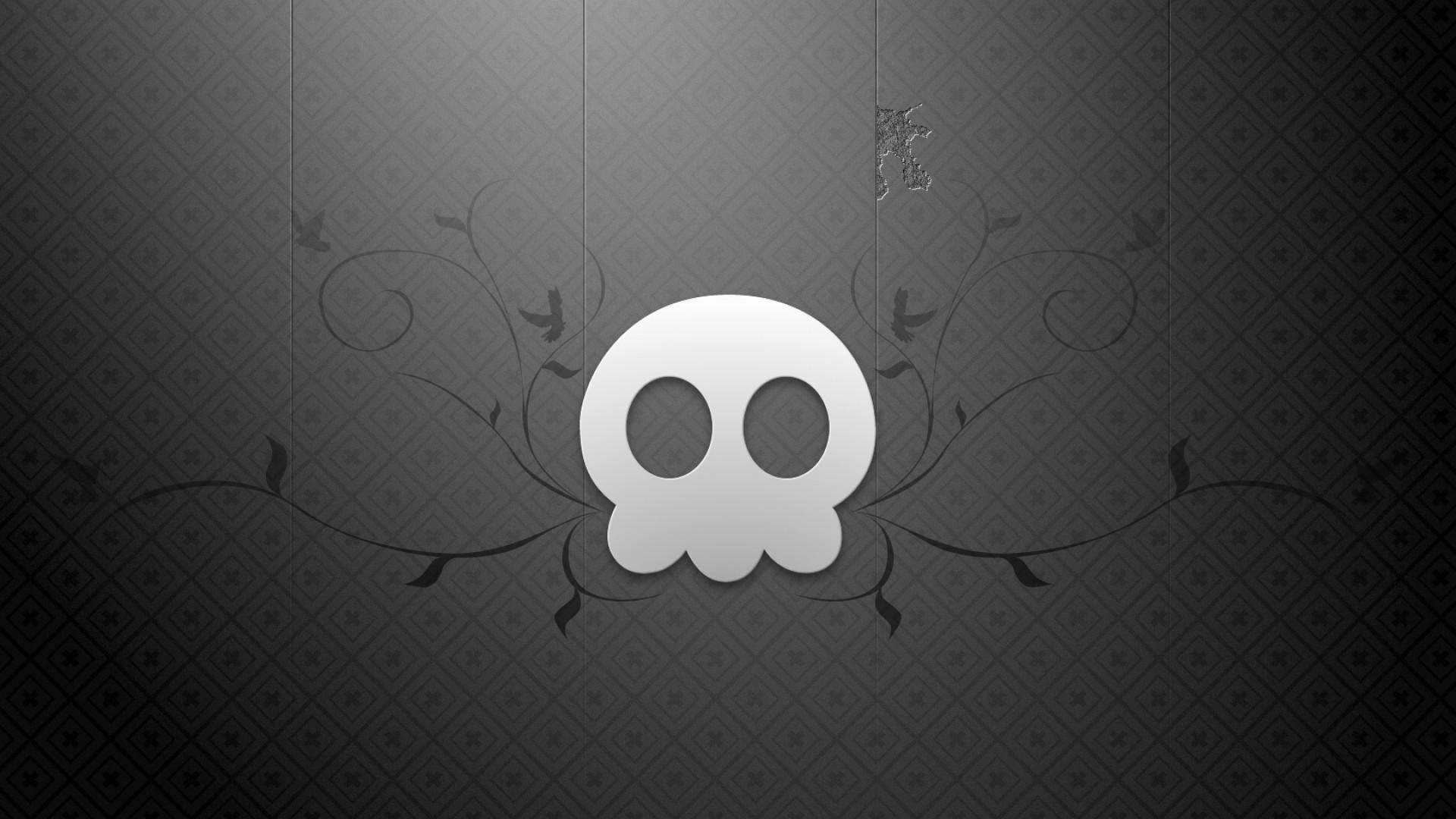 Preview wallpaper black, white, skull 1920×1080