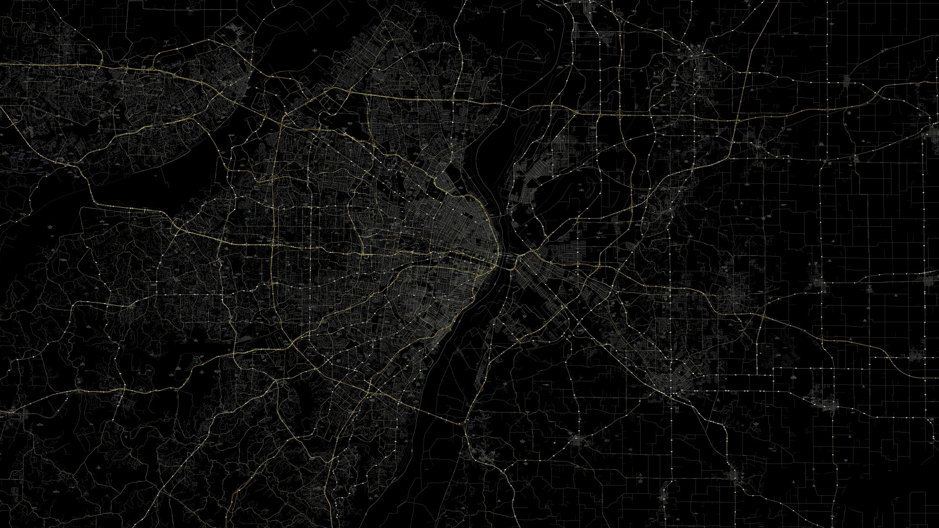 Wallpaper line, black background, route, map