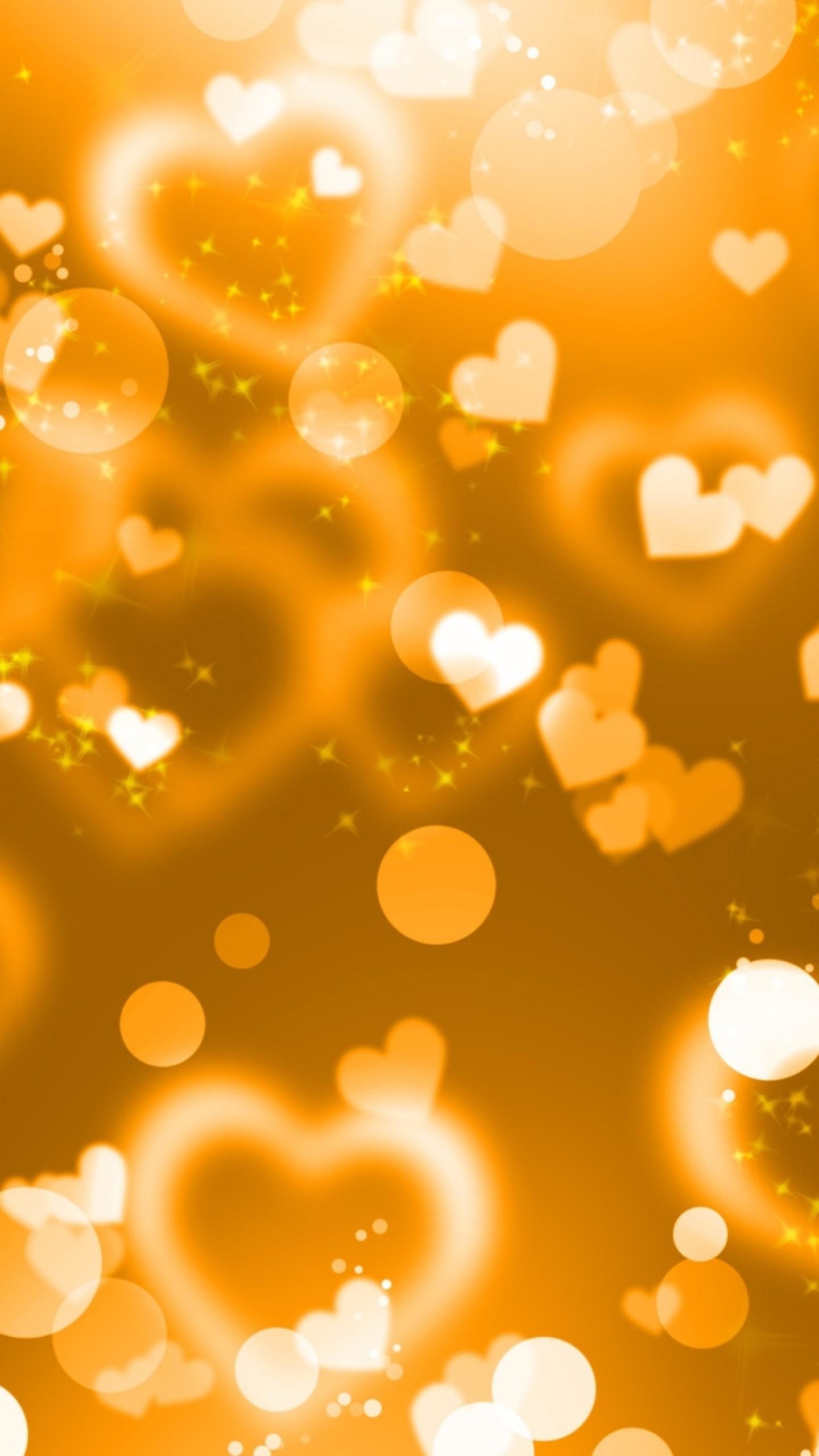 Wallpaper glare, hearts, lights, glitter, gold
