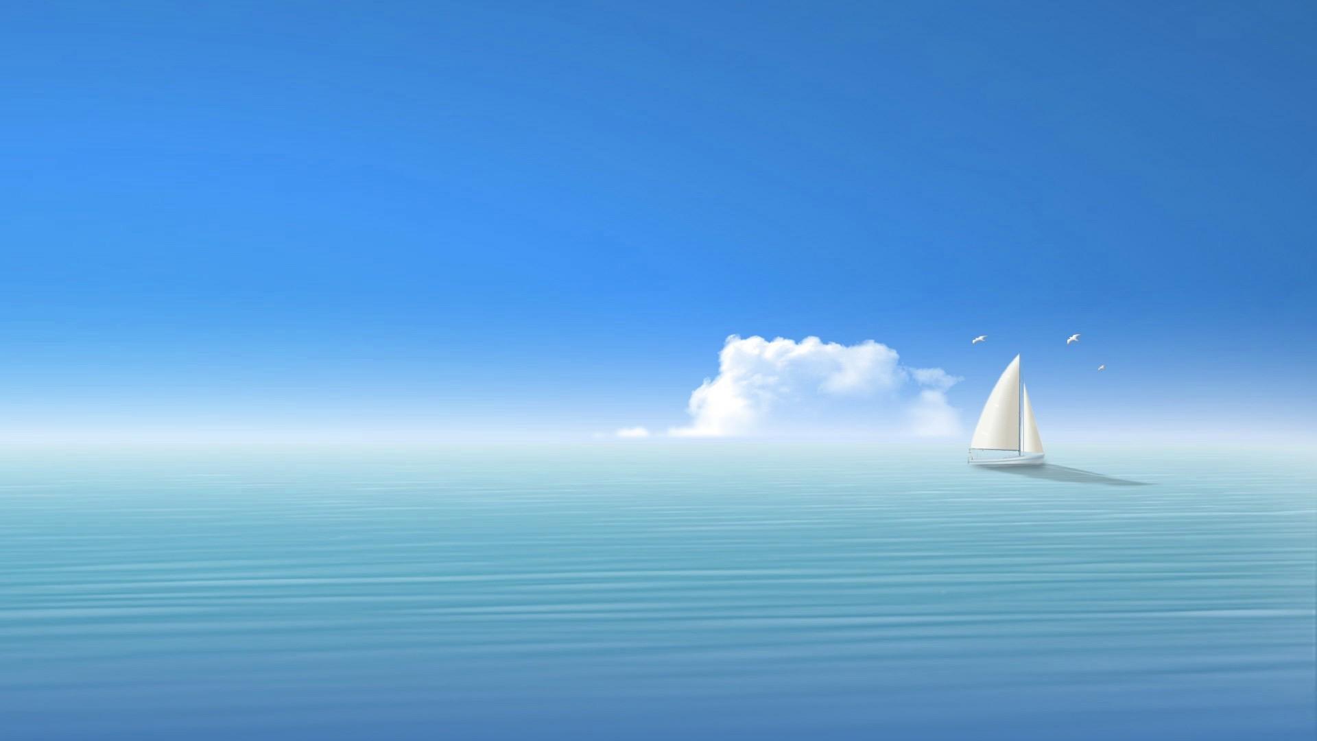 Preview wallpaper blue, sea, ship, sky 1920×1080