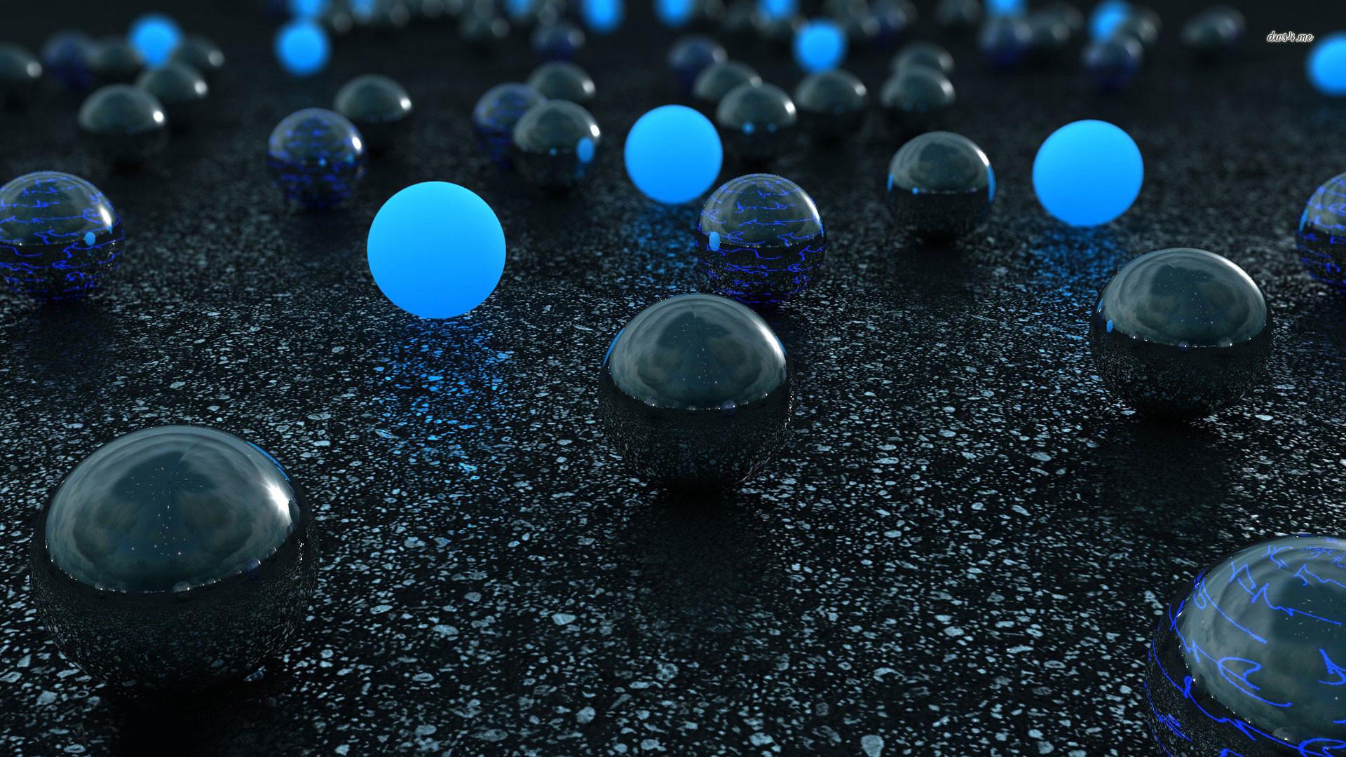 hd pics photos 3d spheres blue black technology wallpaper